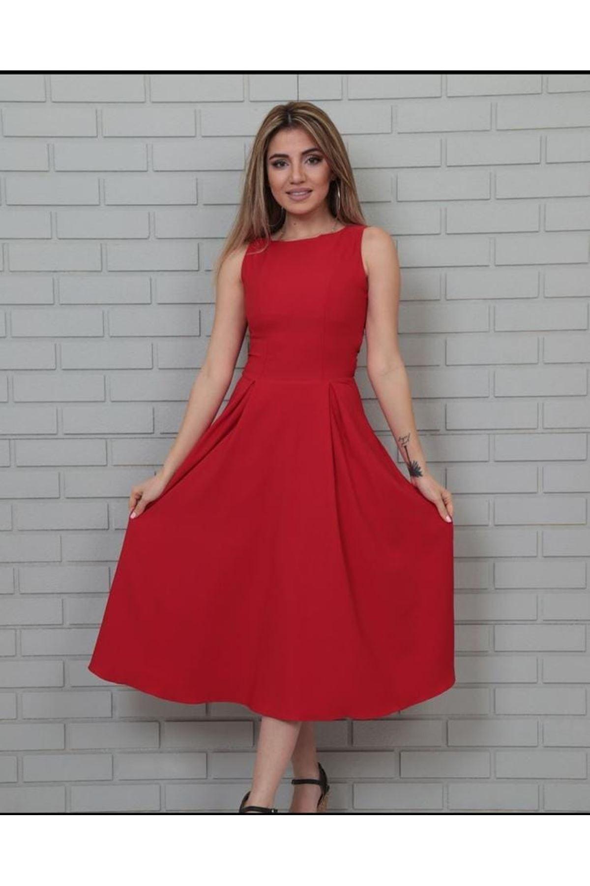 Kolsuz Midiboy Elbise - KIRMIZI