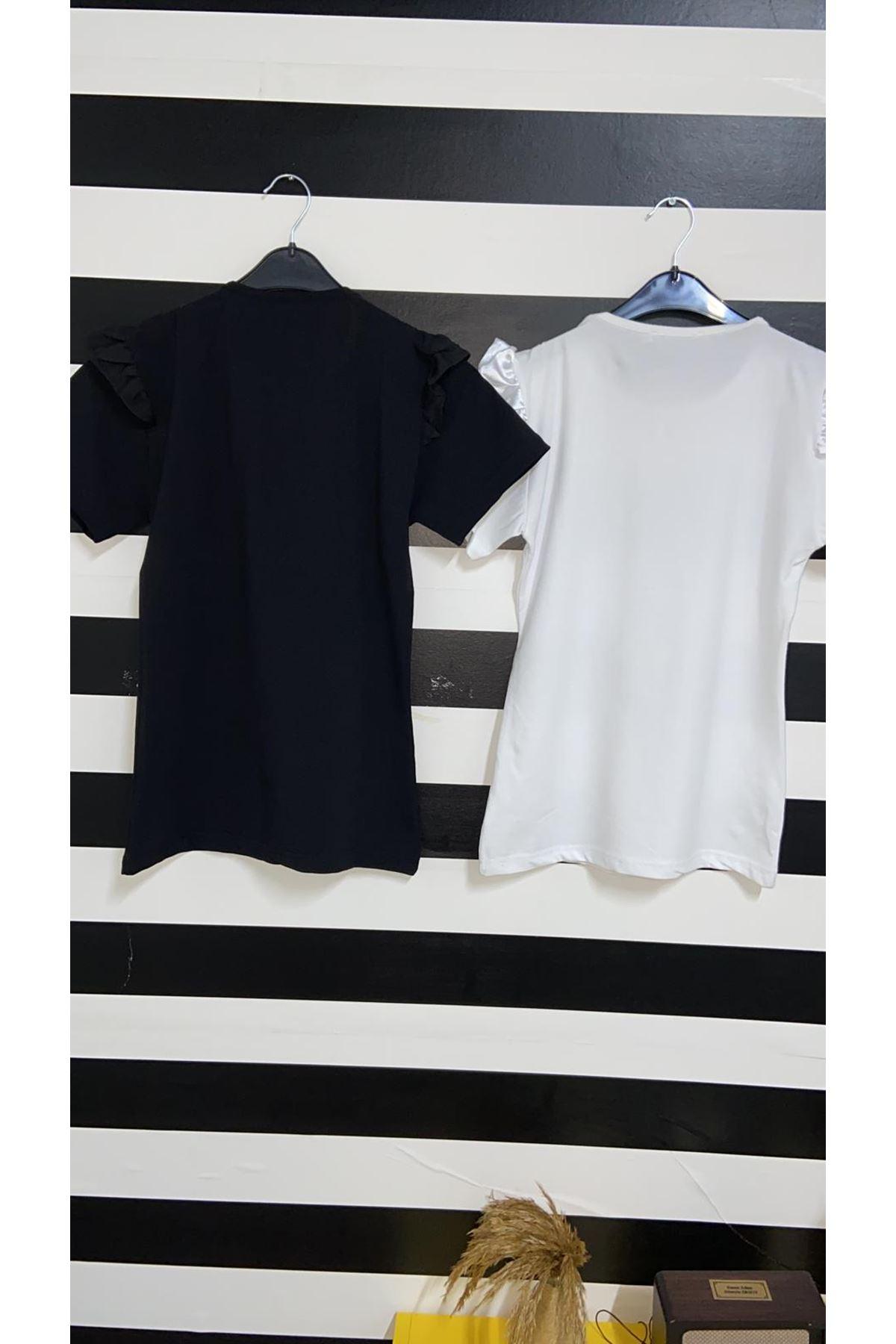 Omuz Fırfır Detaylı Bluz - BEYAZ