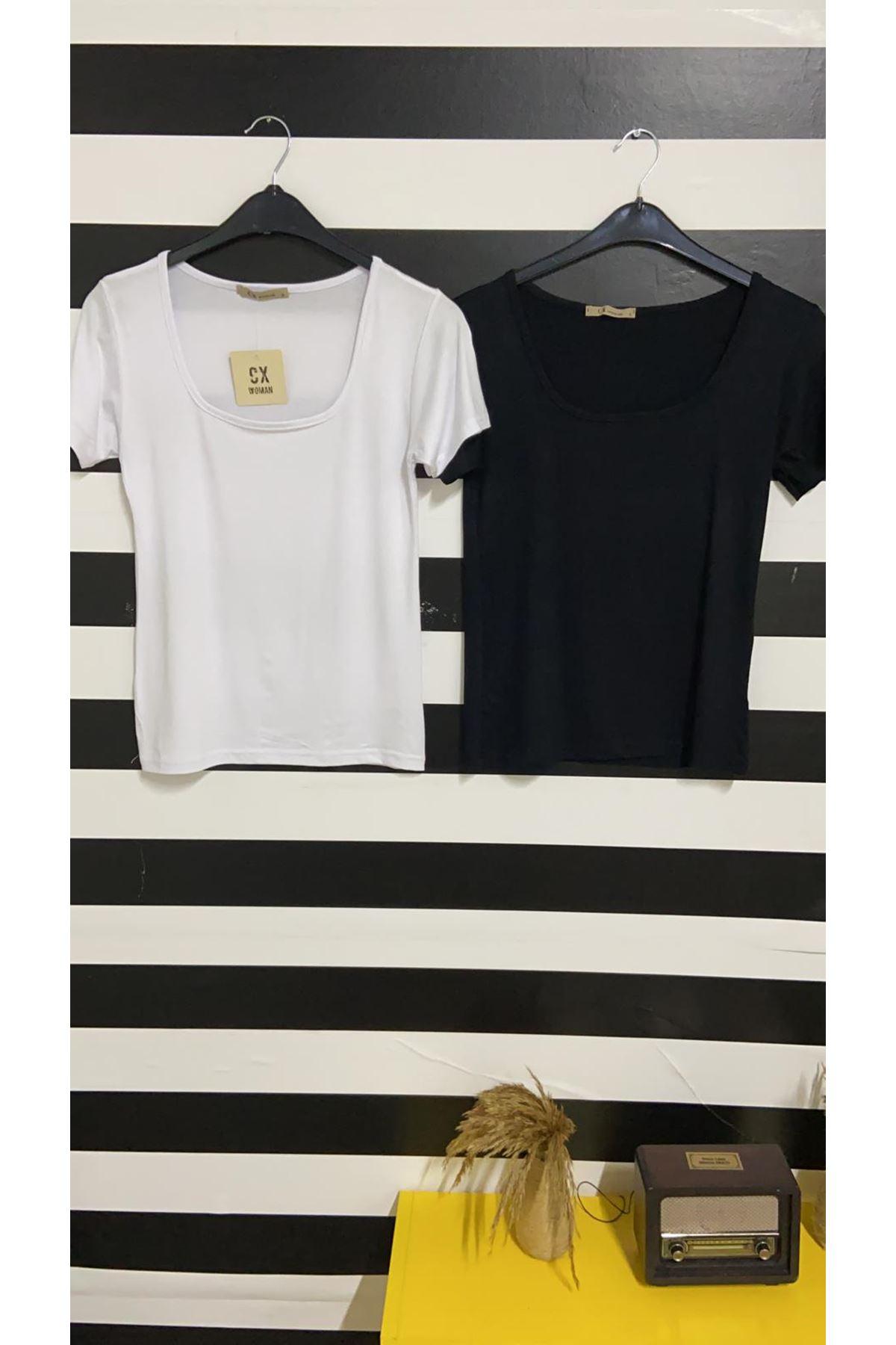 U Yaka Tshirt - BEYAZ
