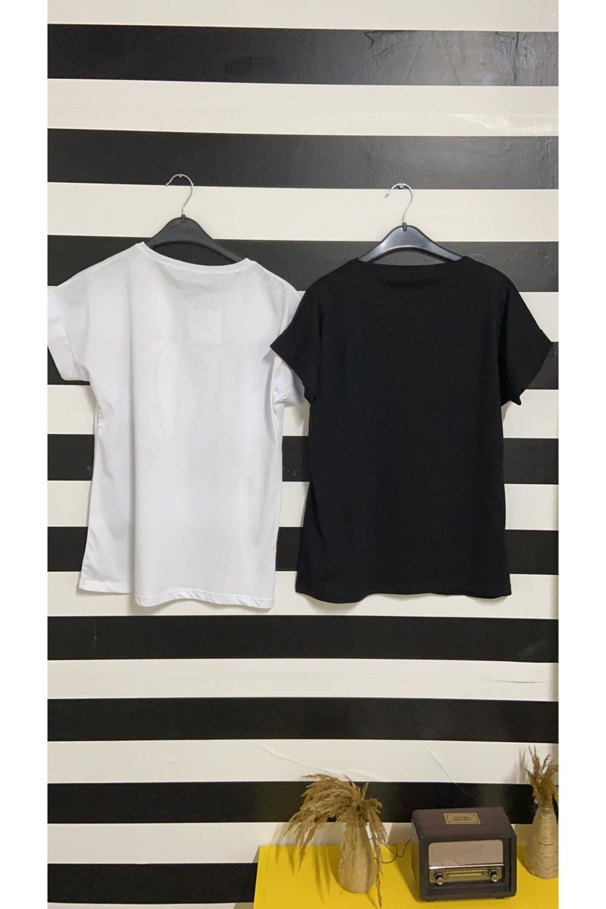 Balon Baskılı Tshirt - BEYAZ