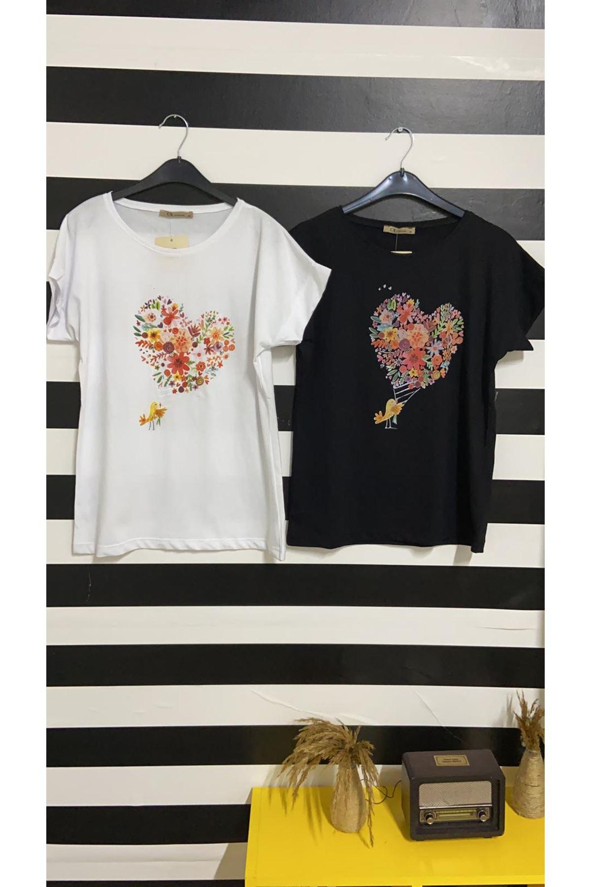 Çiçekli Kalp Baskılı Tshirt - BEYAZ