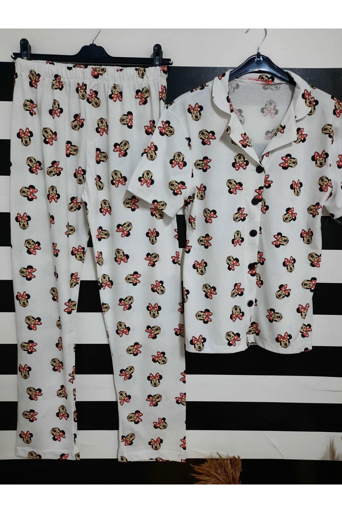 MCK Desenli Pijama Takımı - BEYAZ