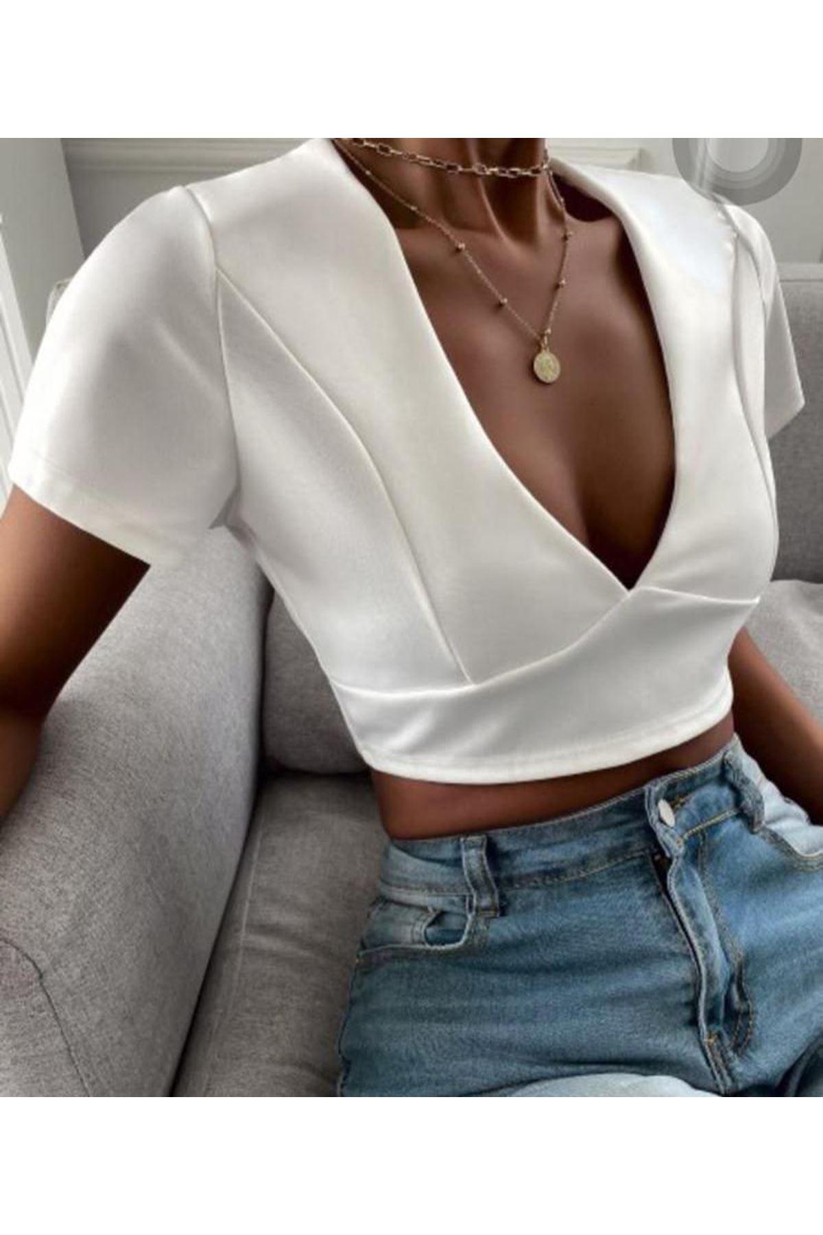 Sırt Bağcıklı Güpür Detaylı Bluz - BEYAZ