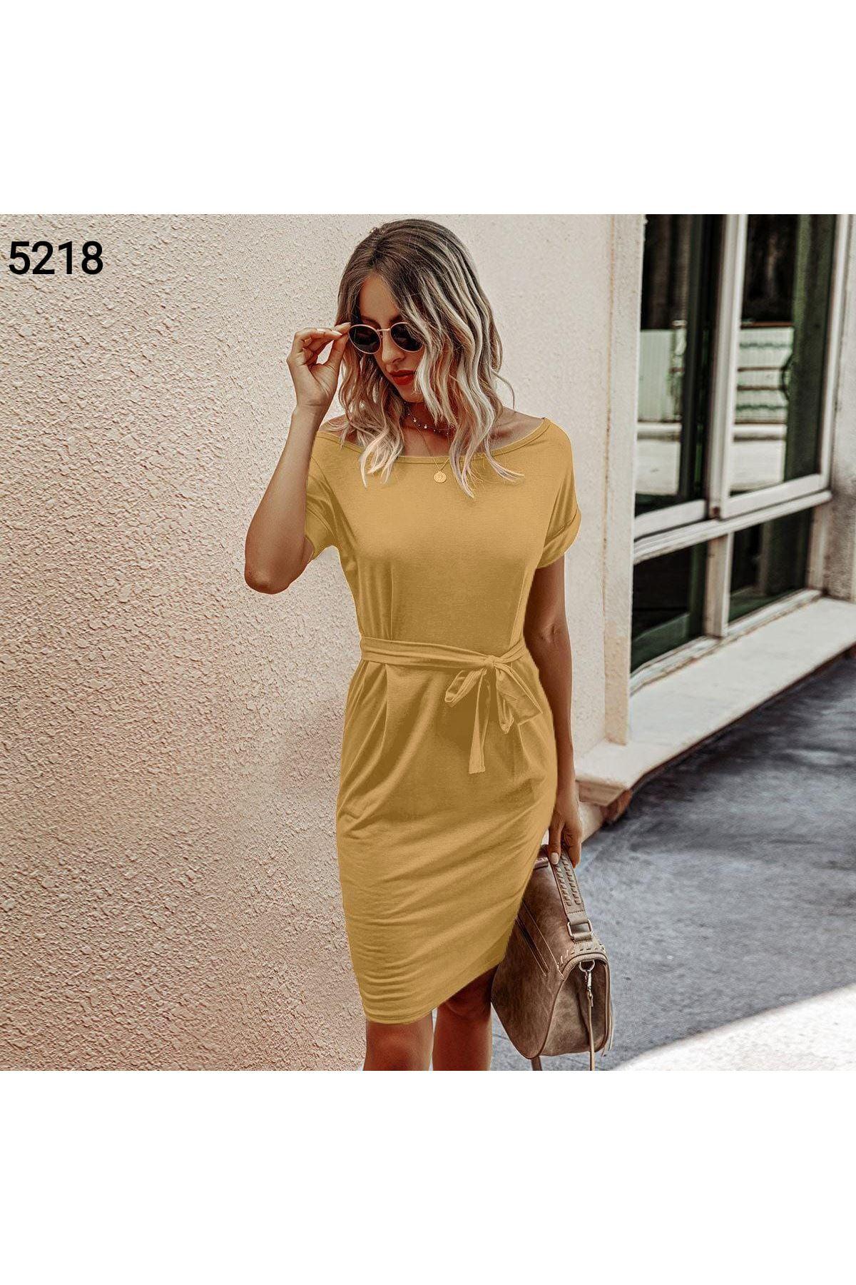 Düşük Omuz Kuşaklı Elbise - BEJ