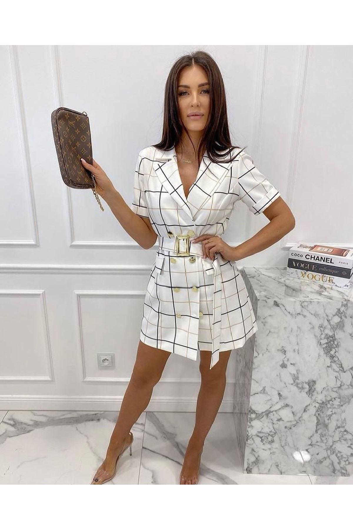 Ekose Desen Astarlı Ceket Elbise - BEYAZ