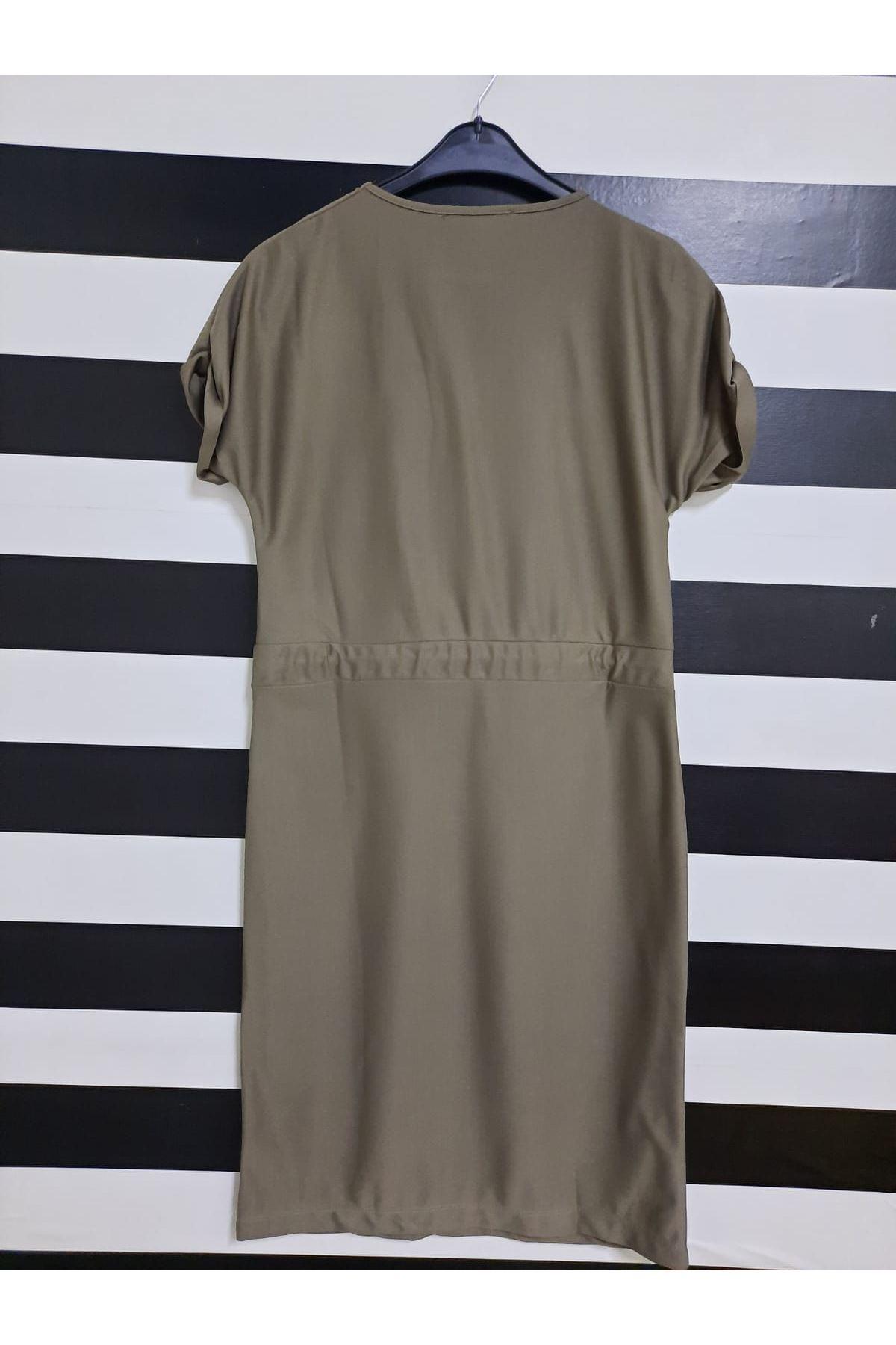 Kısa Kol Bel Lastikli Elbise - GRİ