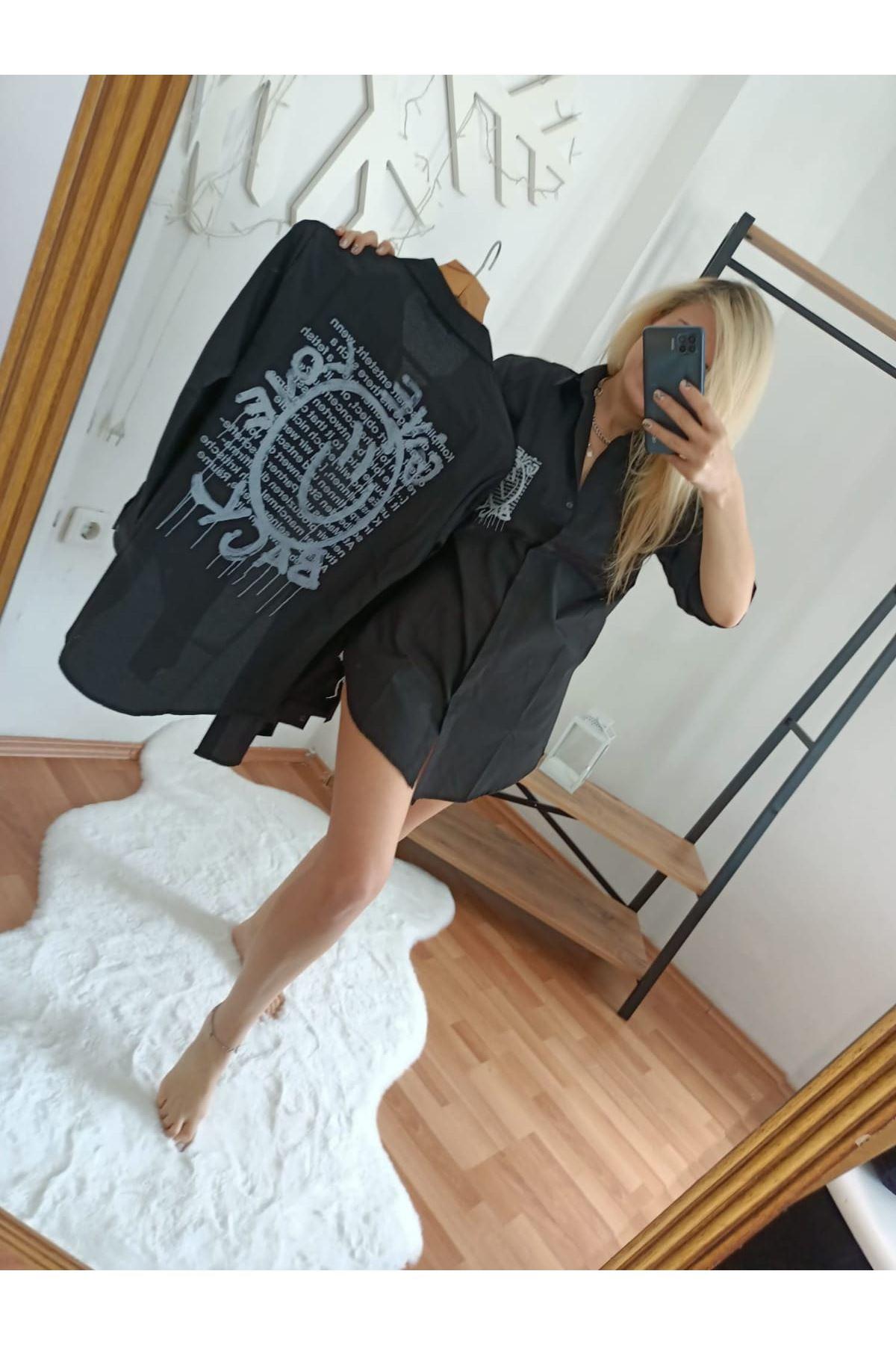 Sırt Baskı Detaylı Gömlek - SİYAH