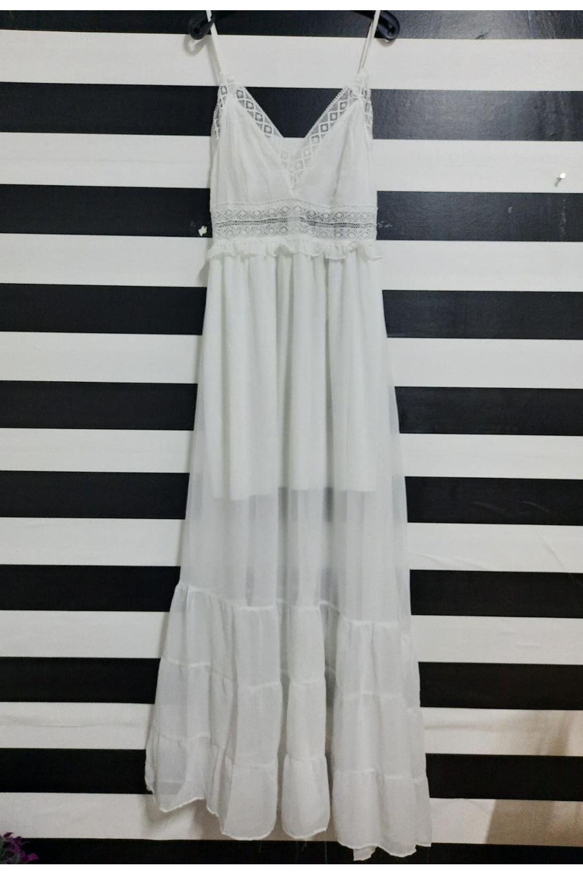 Güpür Detaylı Astarlı Elbise - BEYAZ