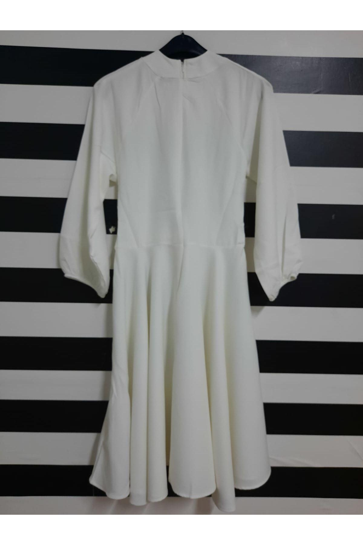 Çapraz Detaylı Midiboy Elbise - BEYAZ