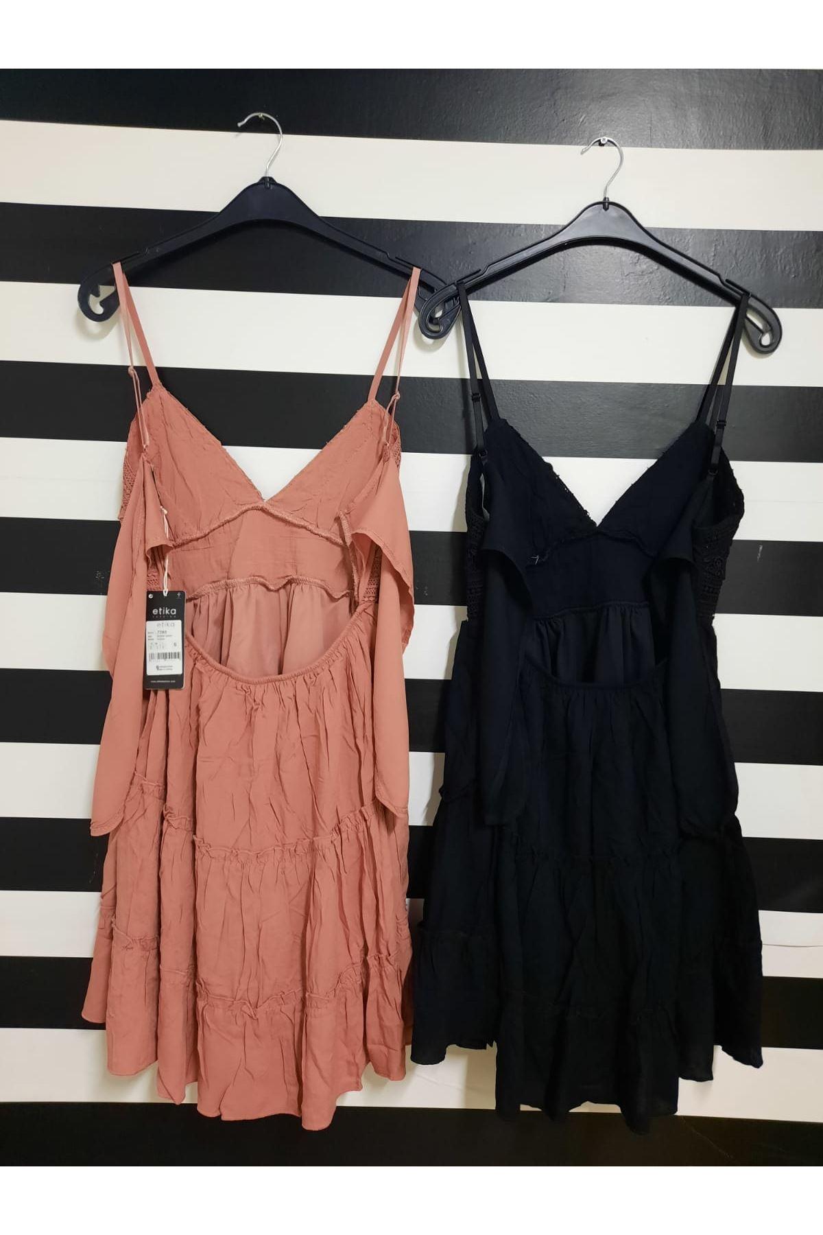 Sırt Dekolteli Askılı Elbise  - SİYAH