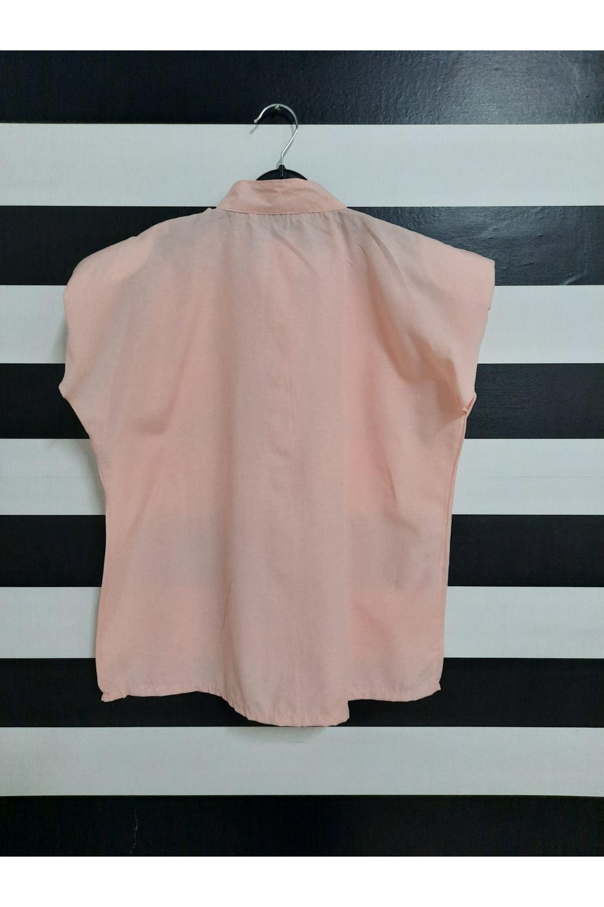 Sıfır Kol Vatkalı Gömlek - PUDRA