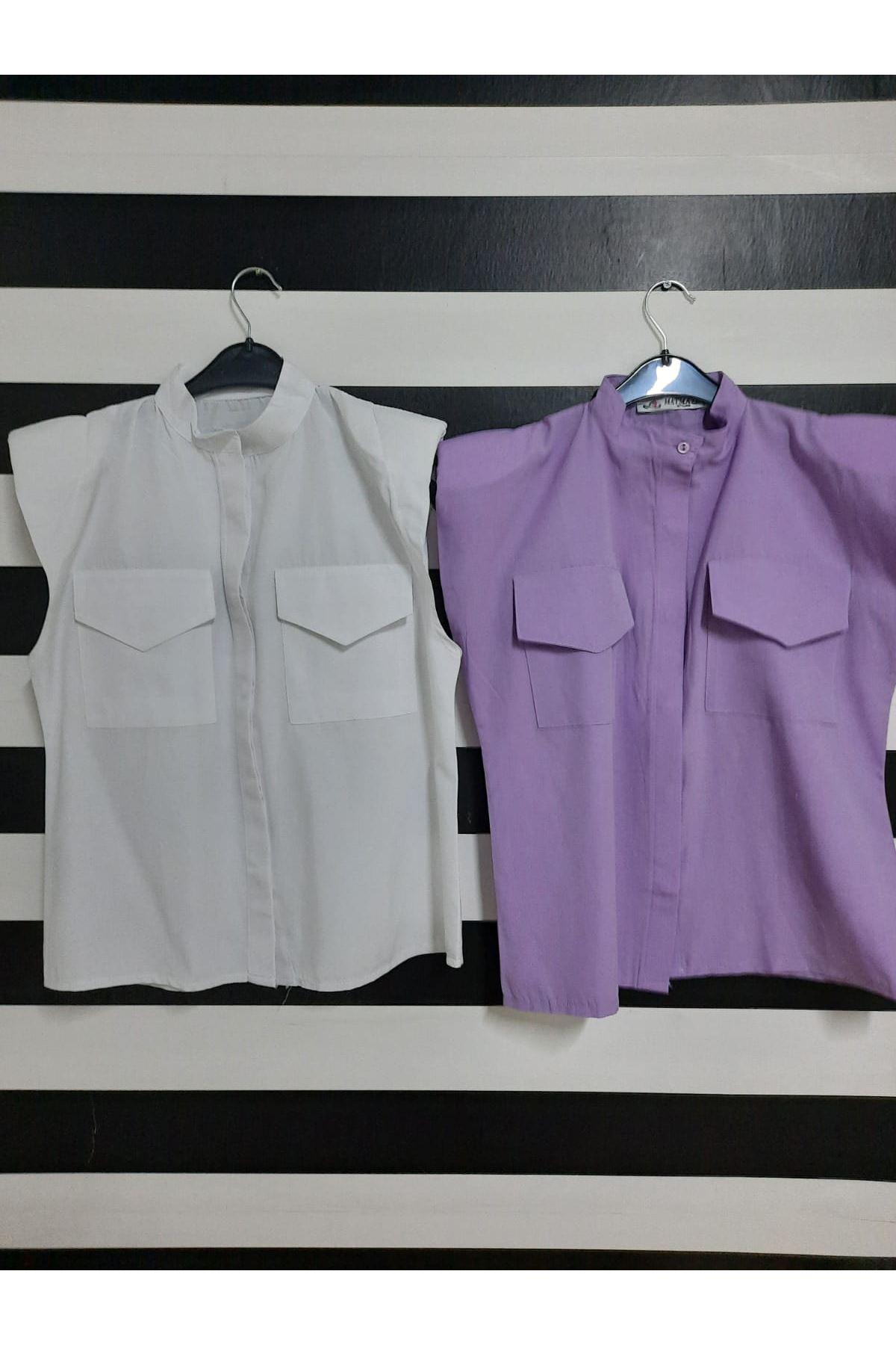Sıfır Kol Vatkalı Gömlek - LİLA