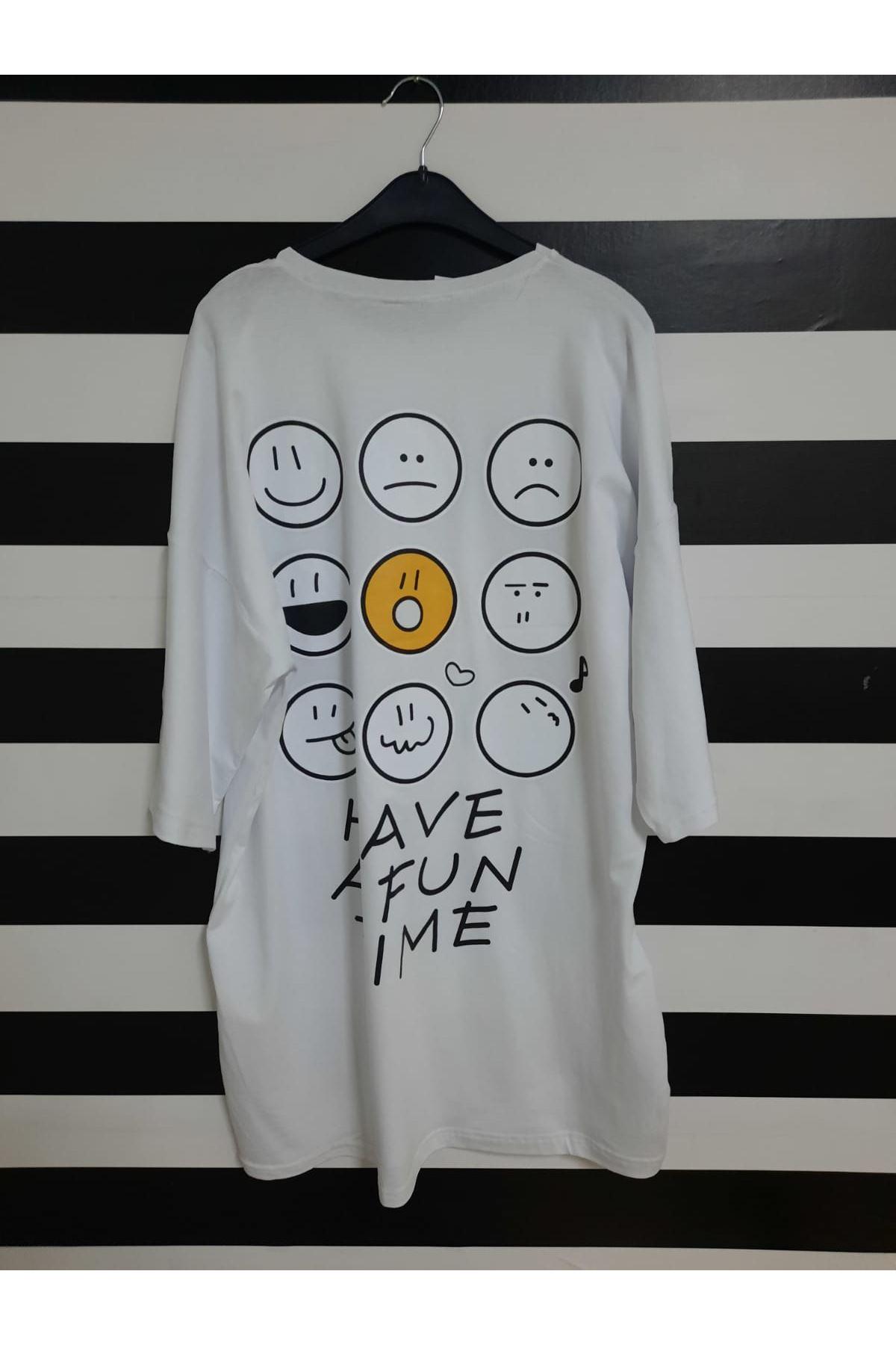 Emoji Baskılı Oversize T-shirt - BEYAZ