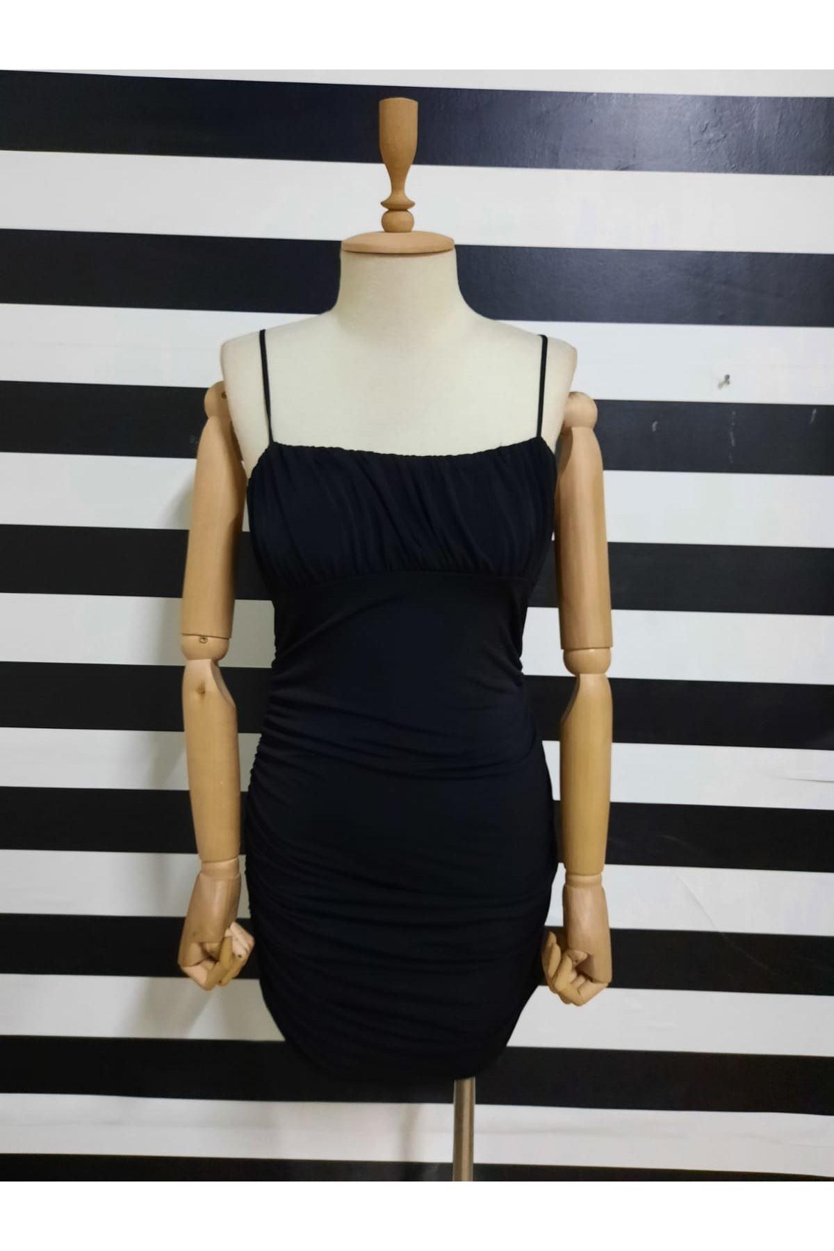 Drapeli Askılı Sandy Elbise - SİYAH