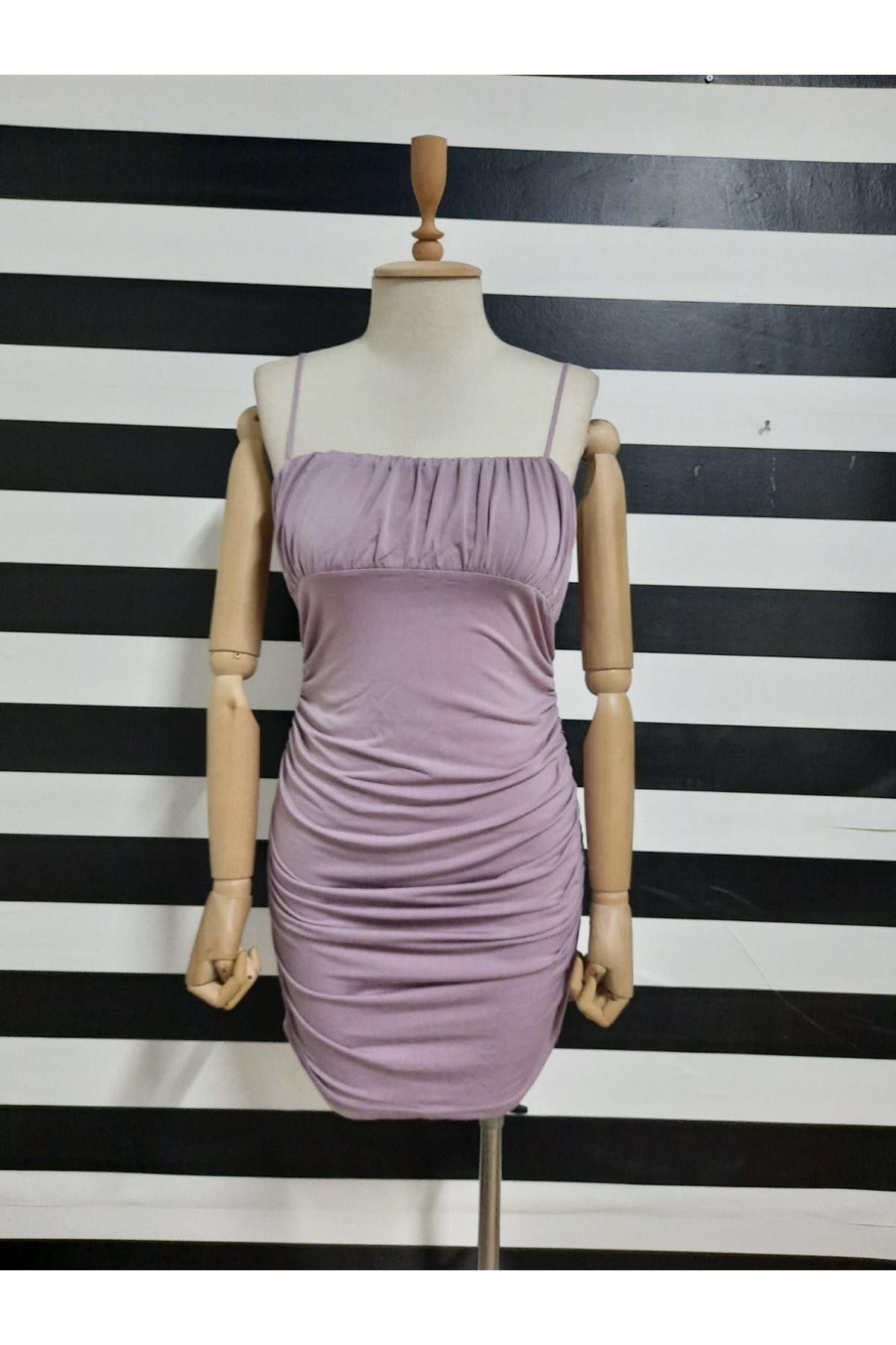 Drapeli Askılı Sandy Elbise - LİLA