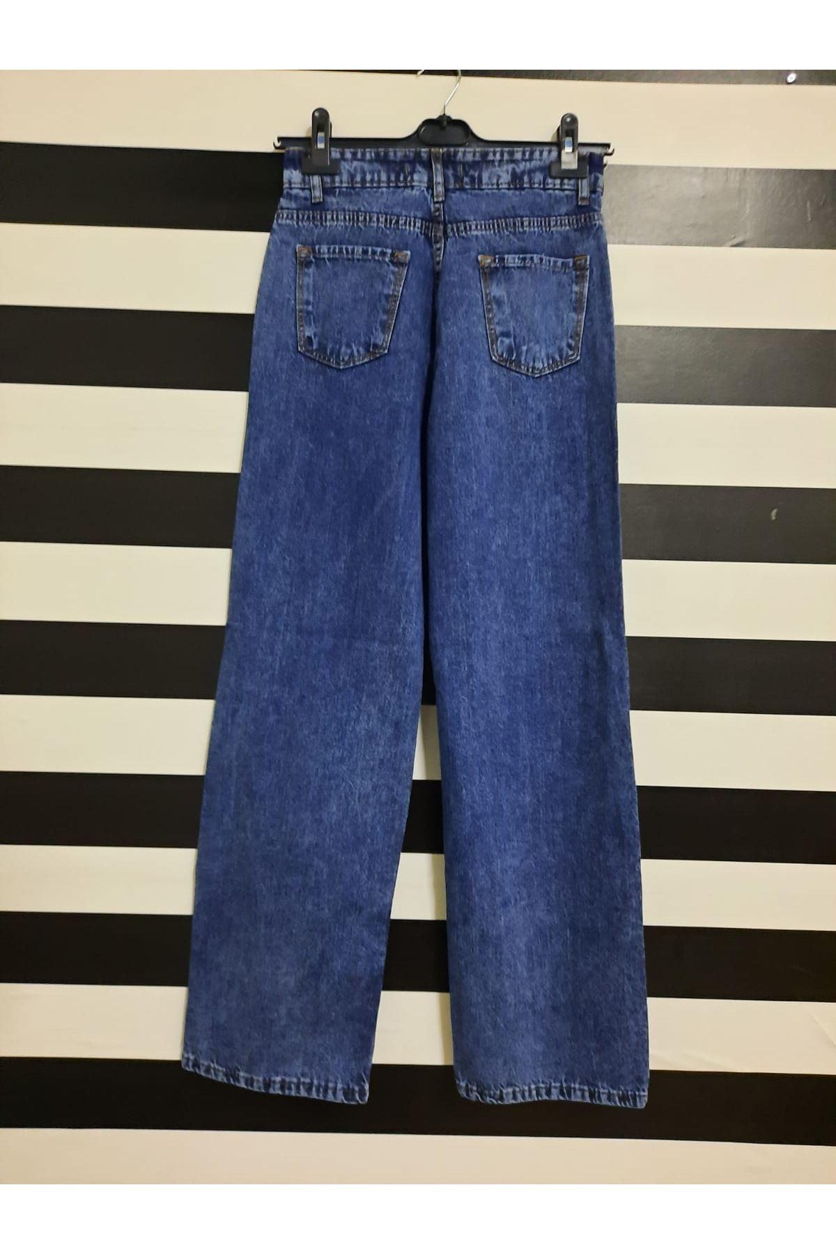 Yırtık Detaylı Salaş Kot Pantolon - MAVİ