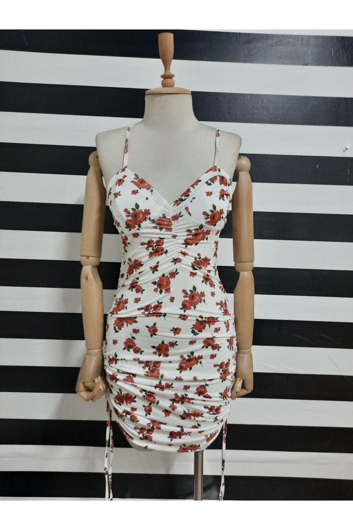 Çiçek Desen Büzgü Detaylı Askılı Elbise - BEYAZ