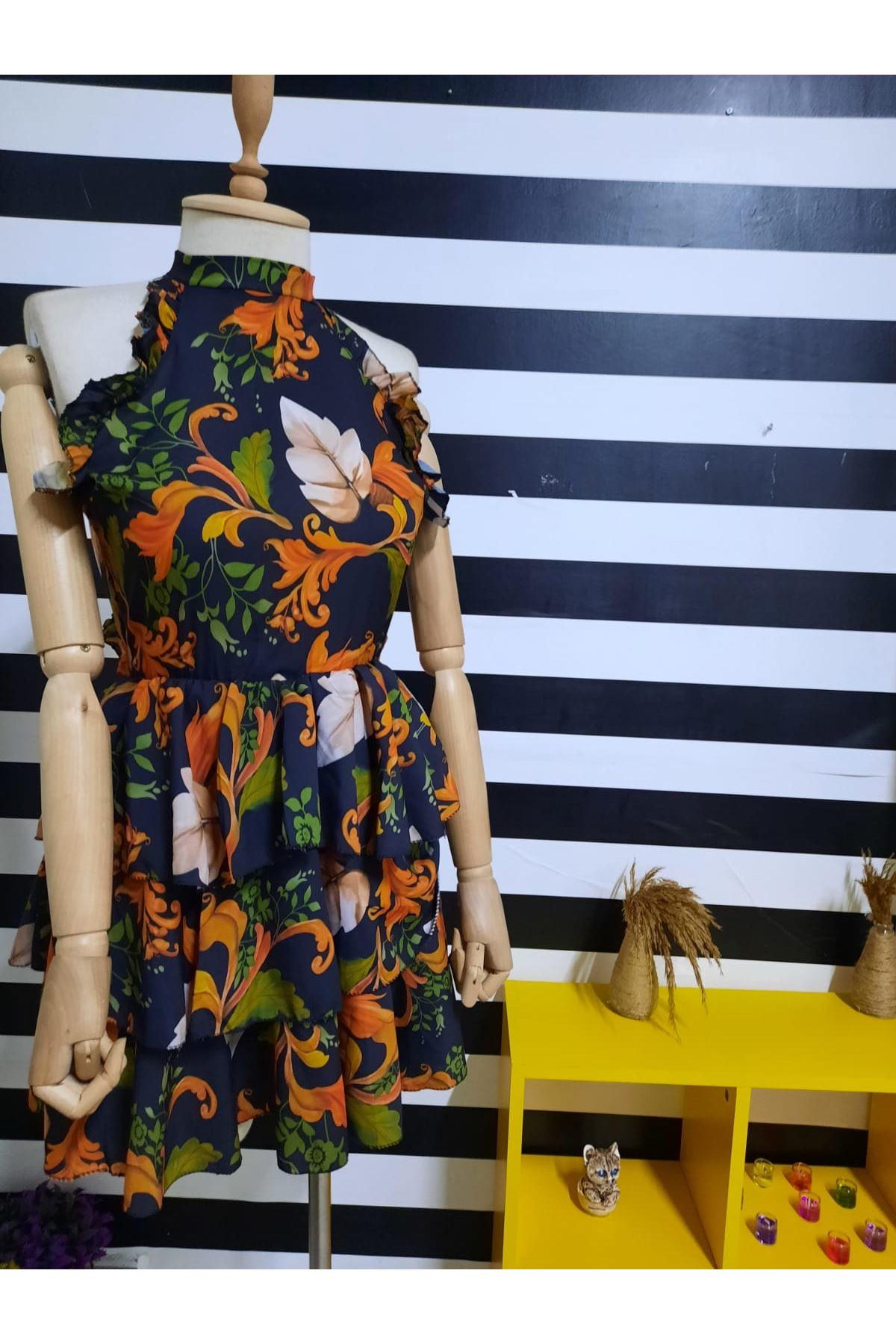 Sırtı Açık Mini Elbise - SİYAH
