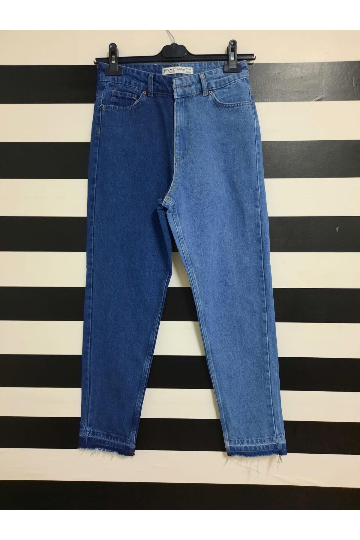 Çift Renk Kot Pantolon - MAVİ