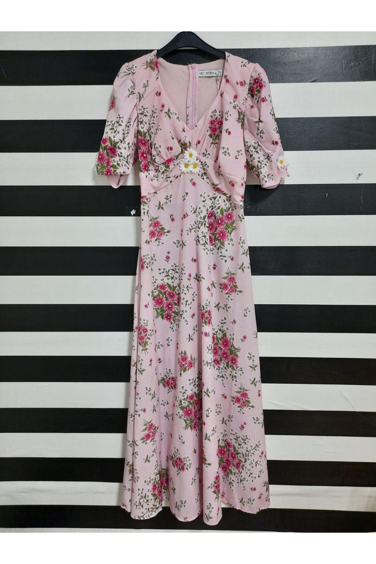 Çiçek Desen Prenses Omuz Elbise - PUDRA