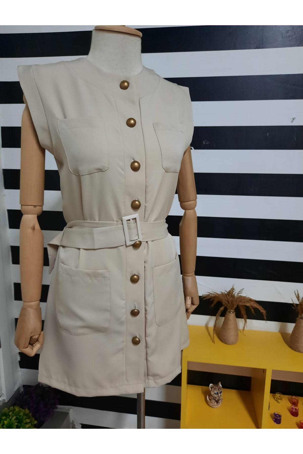 Cep Detaylı Gömlek Elbise - BEJ