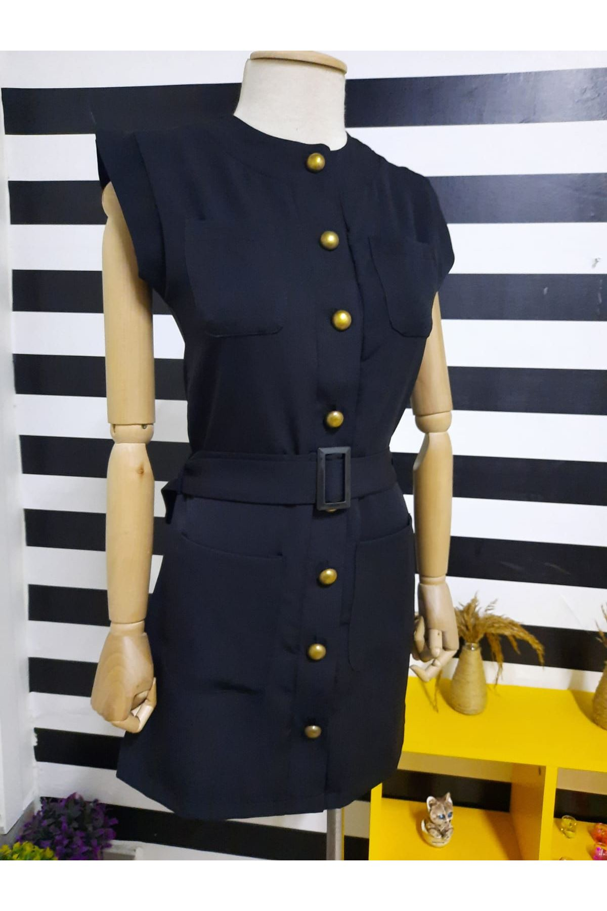 Cep Detaylı Gömlek Elbise - SİYAH