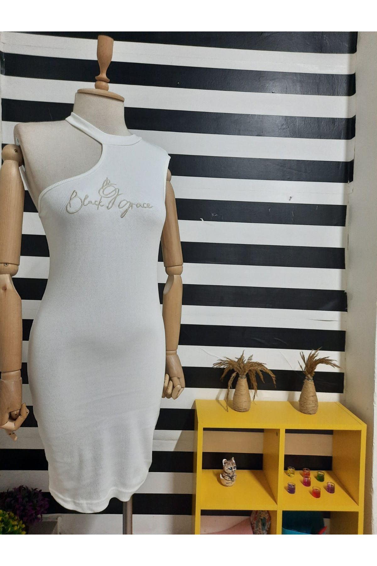 Tek Omuz Detaylı  Kaşkorse Elbise - BEYAZ