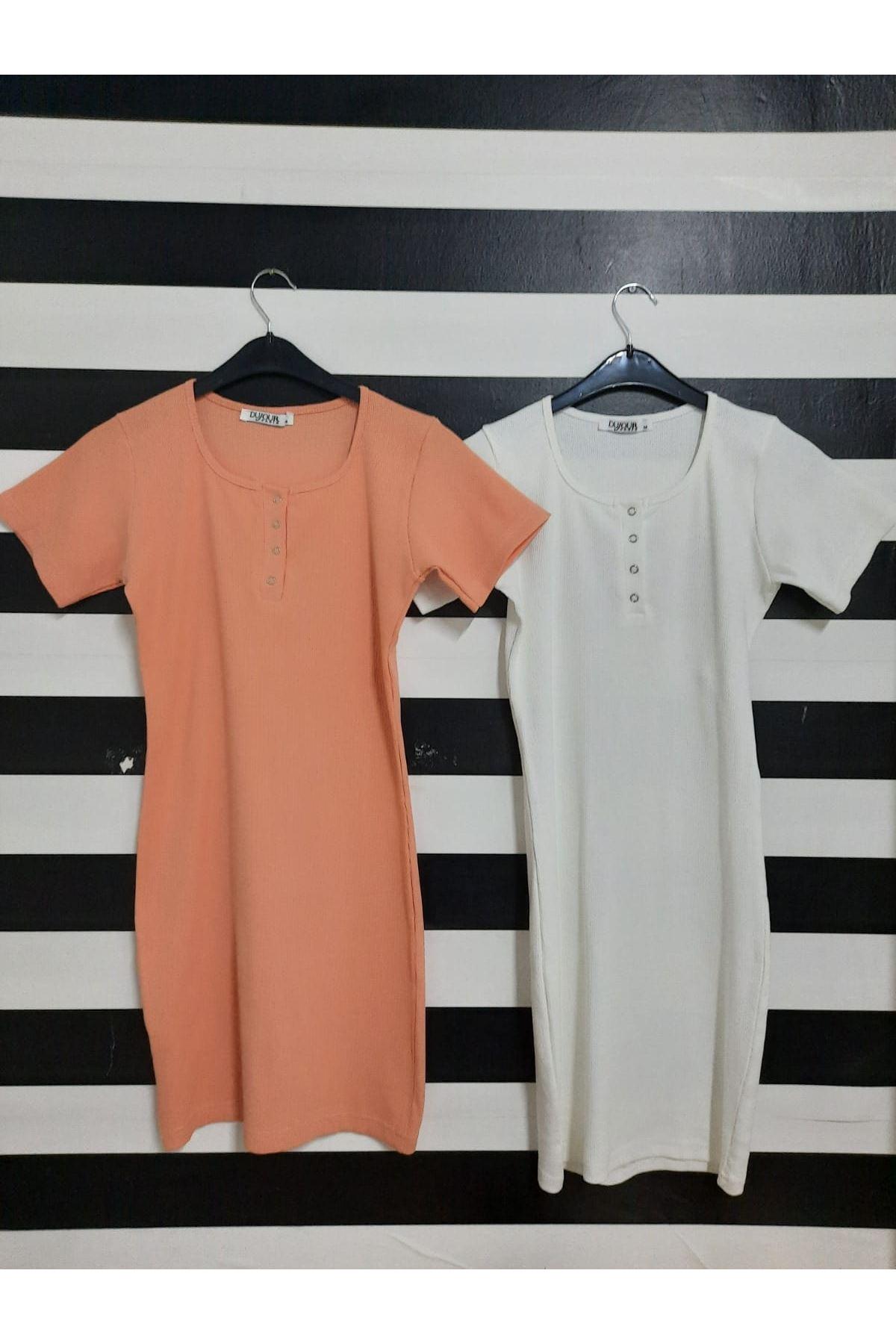 U Yaka Düğme Detaylı Kaşkorse Elbise - BEYAZ