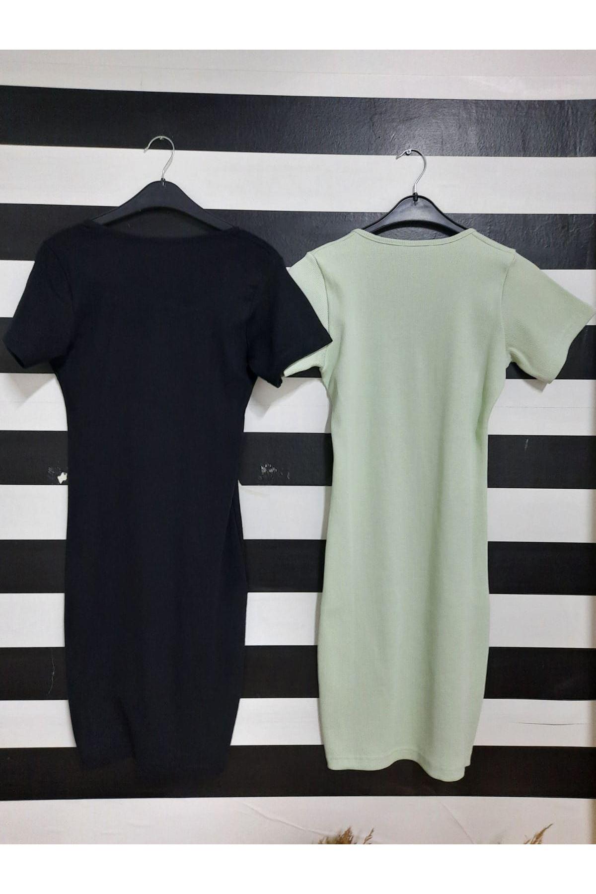 U Yaka Düğme Detaylı Kaşkorse Elbise - SİYAH