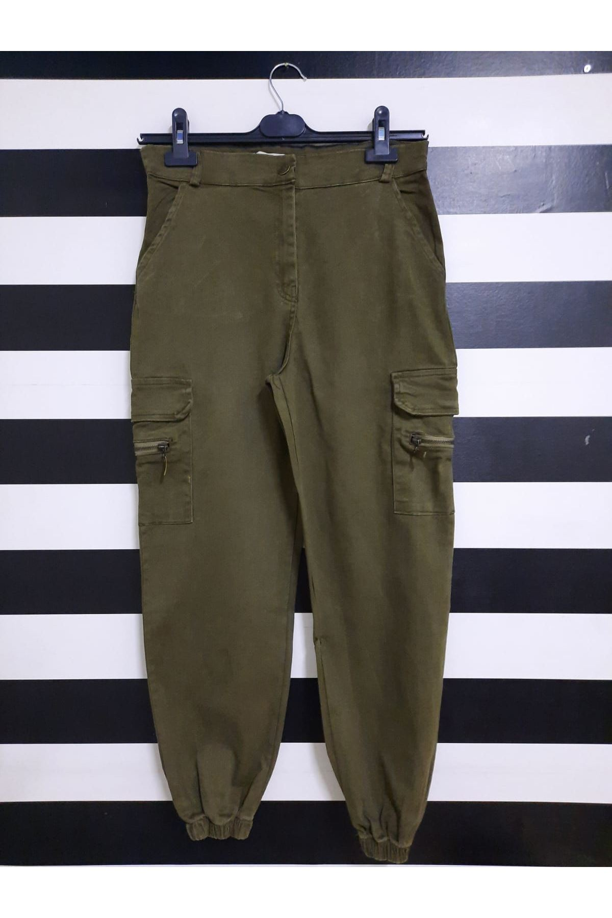 Kargo Cep Detaylı Gabardin Pantolon - HAKİ