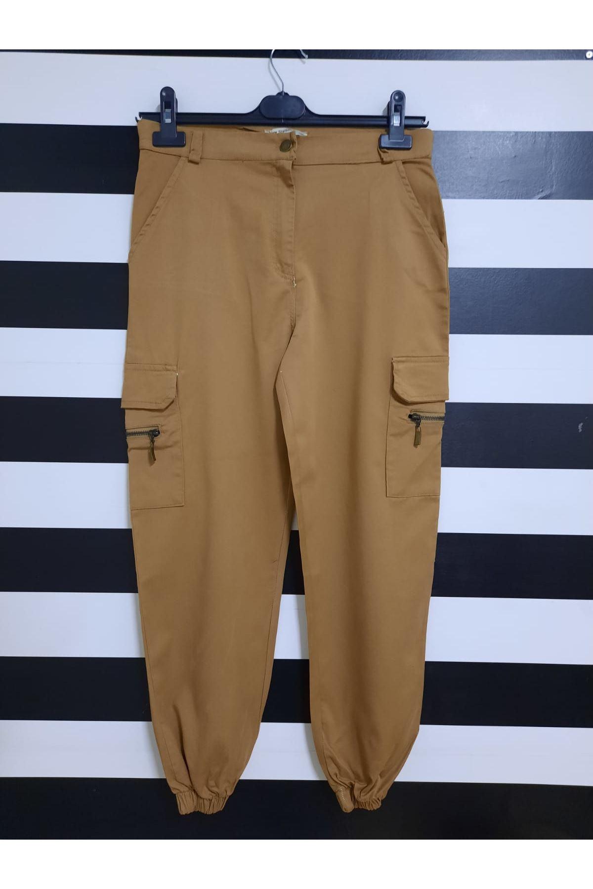 Kargo Cep Detaylı Gabardin Pantolon - VİZON