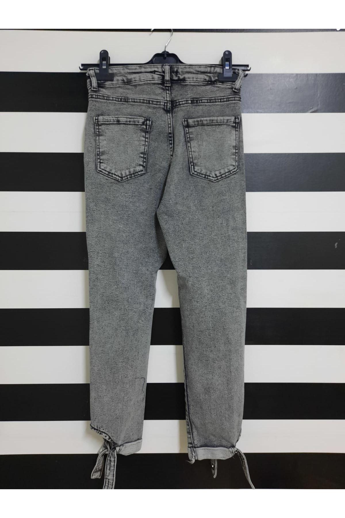 Yırtık Detaylı Kot Pantolon - GRİ