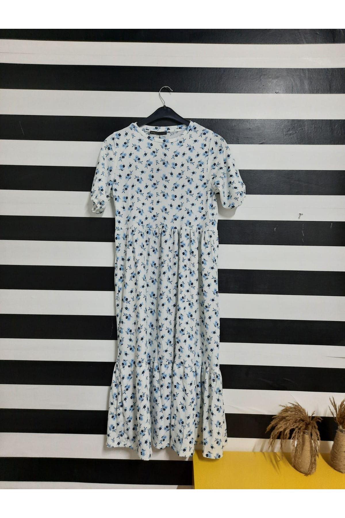Çiçek Desen Midiboy Elbise  - BEYAZ