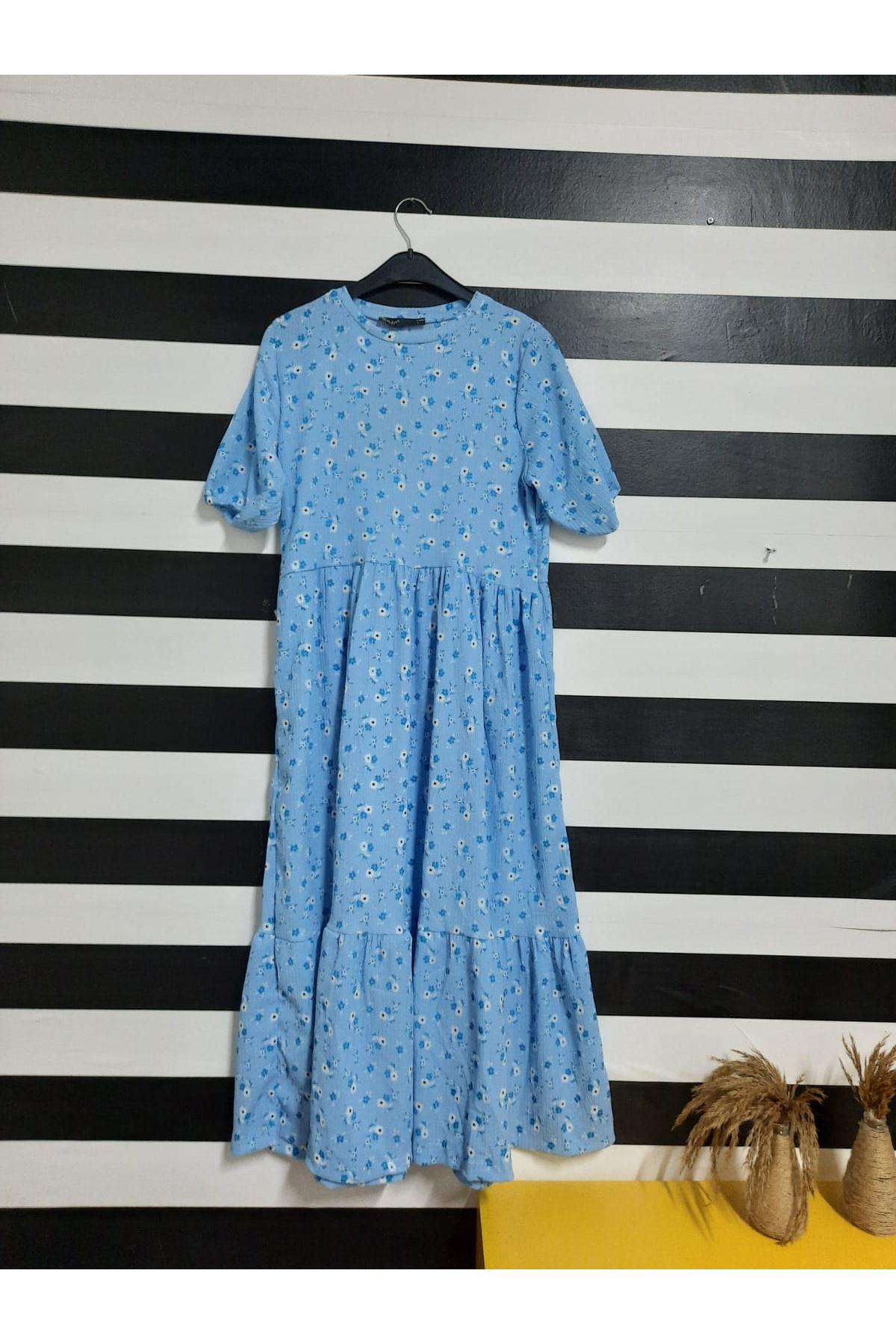 Çiçek Desen Midiboy Elbise  - MAVİ