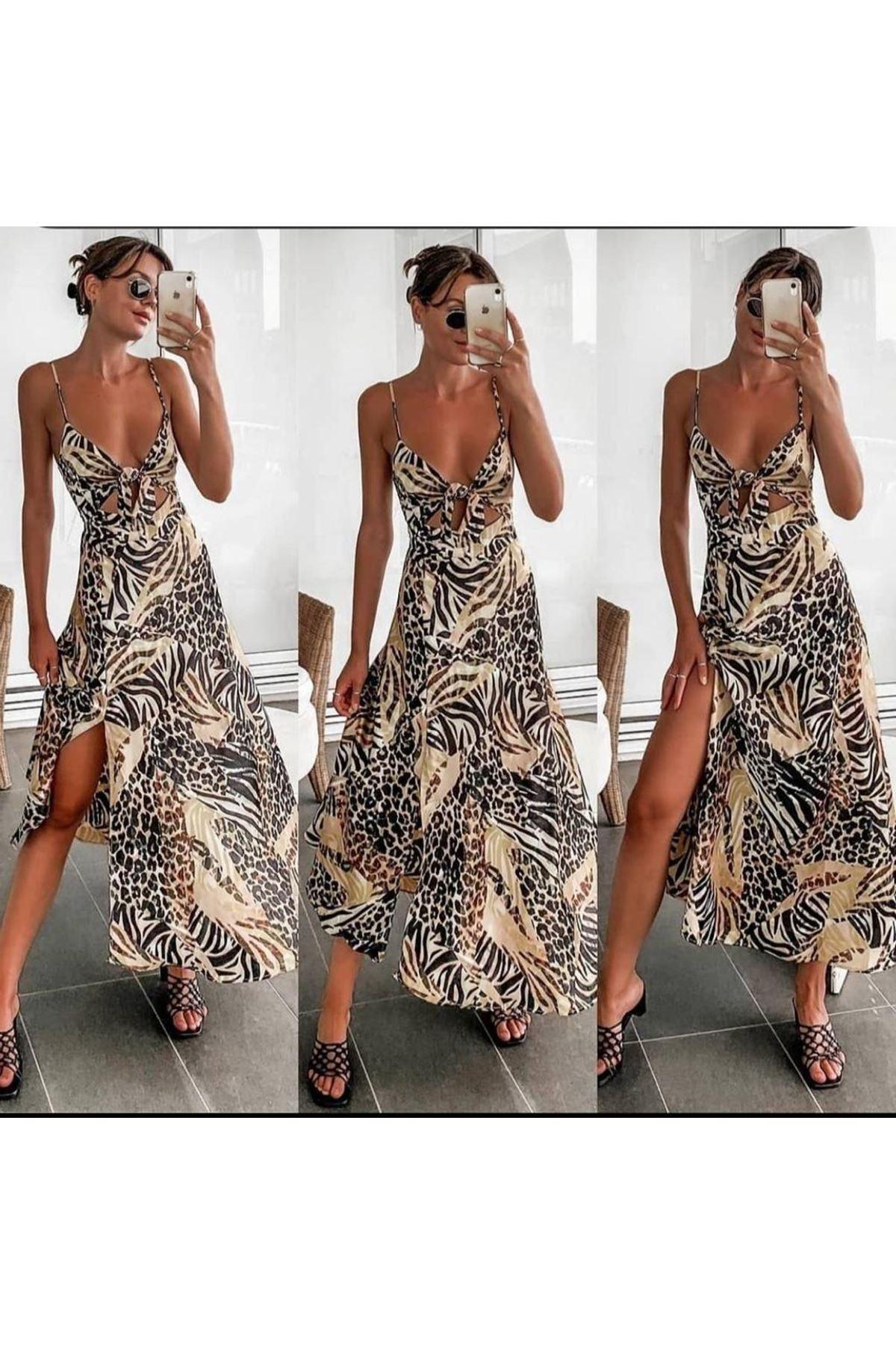Dijital Baskılı Dekolte Detaylı Saten Elbise - MULTİ