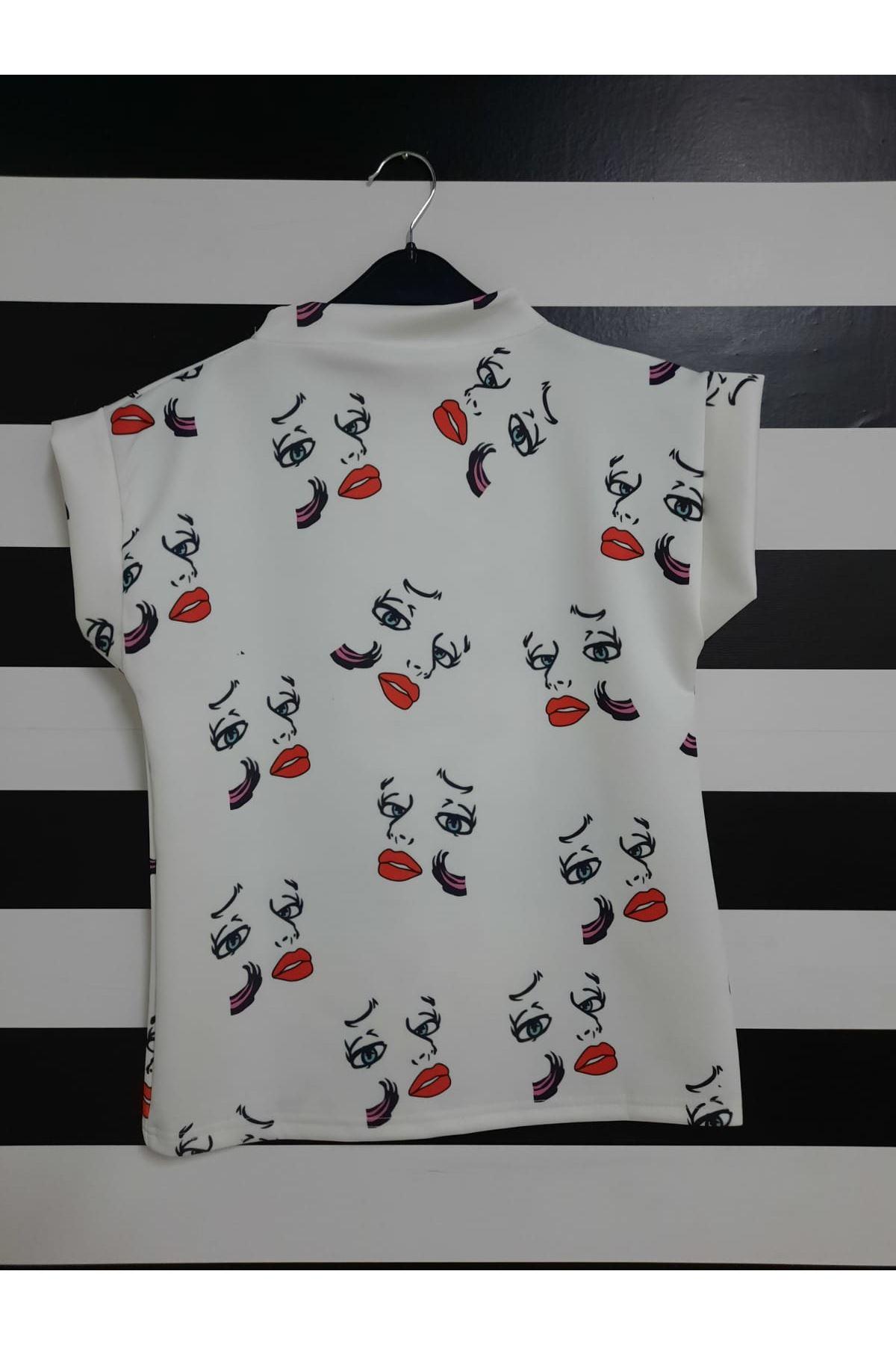 Kısa Kol Silüet Baskılı T-shirt - BEYAZ