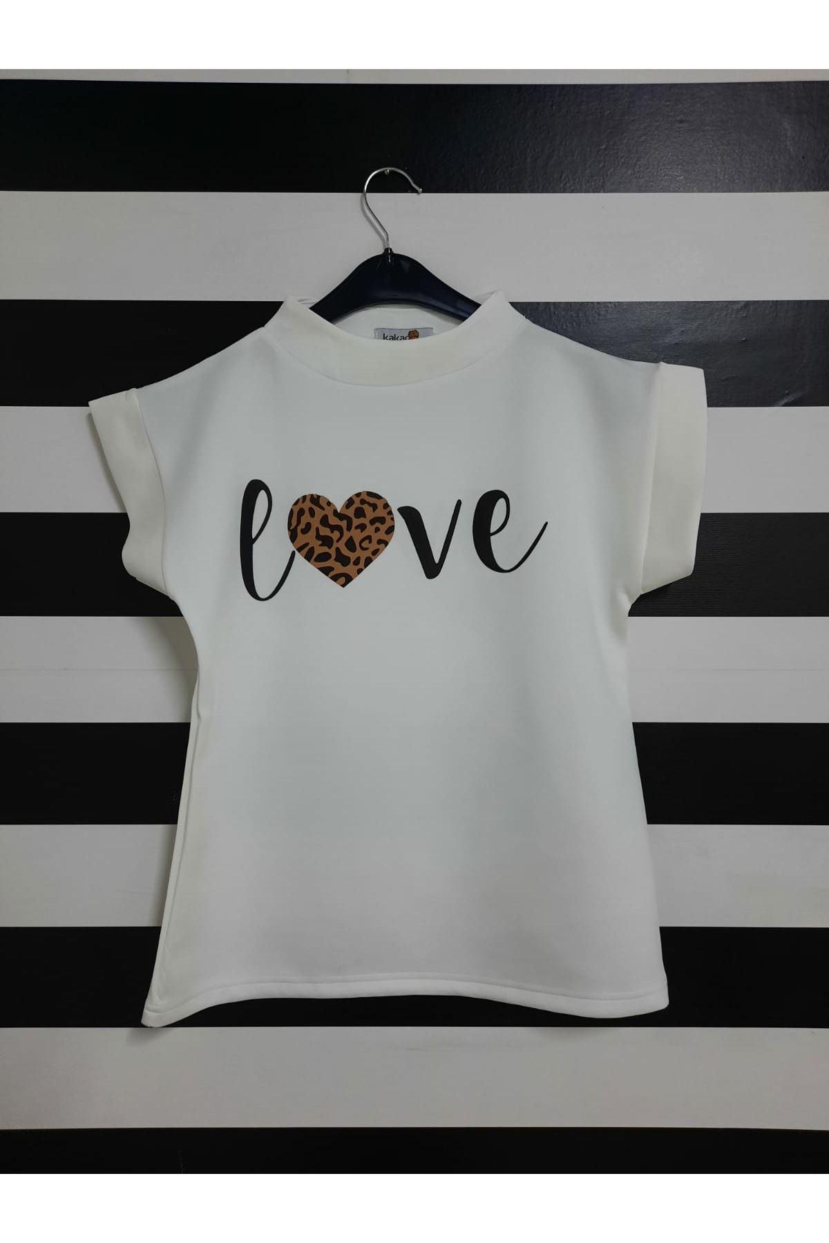 Kısa Kol Love Baskılı T-shirt - BEYAZ