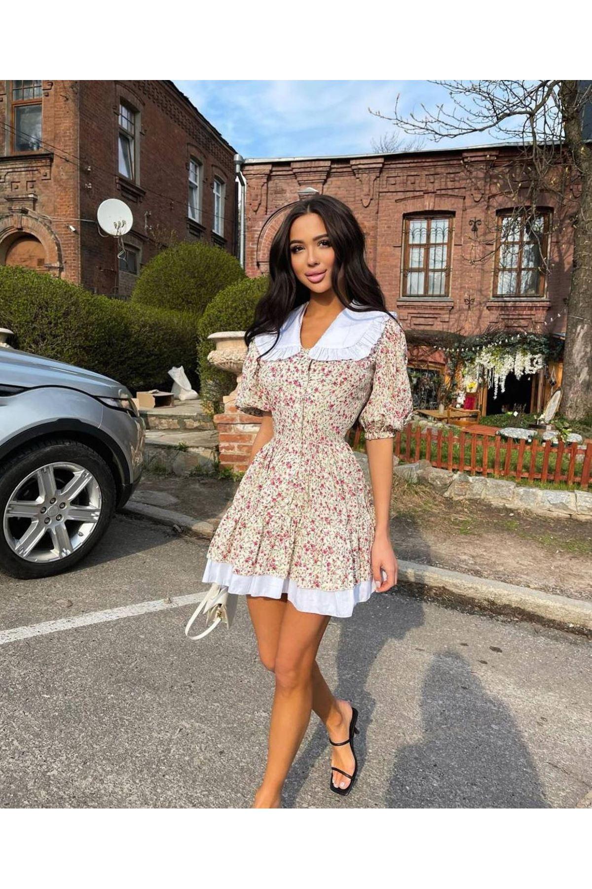 Çiçek Desen Fırfırlı Mini Elbise - BEJ