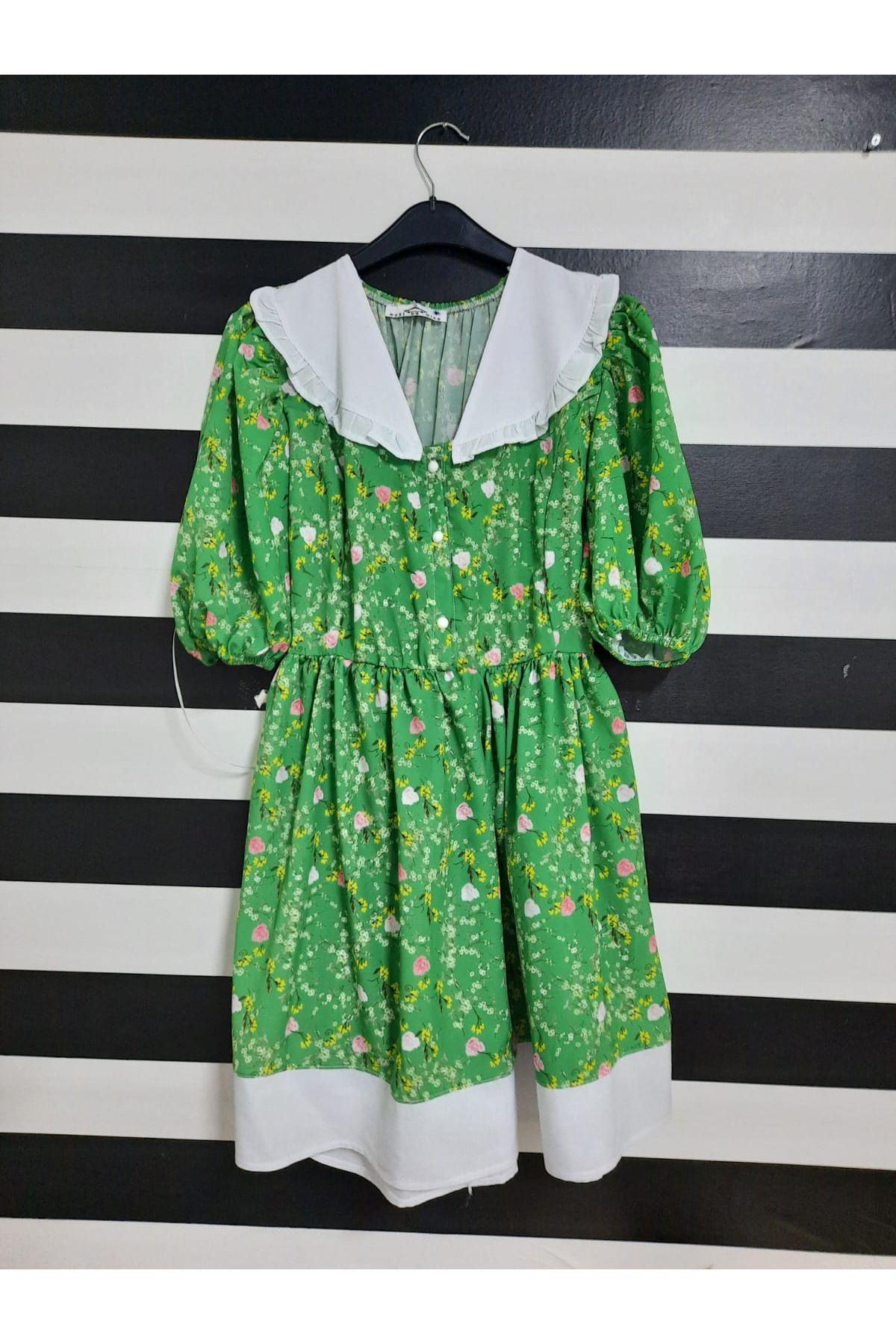 Çiçek Desen Fırfırlı Mini Elbise - YEŞİL