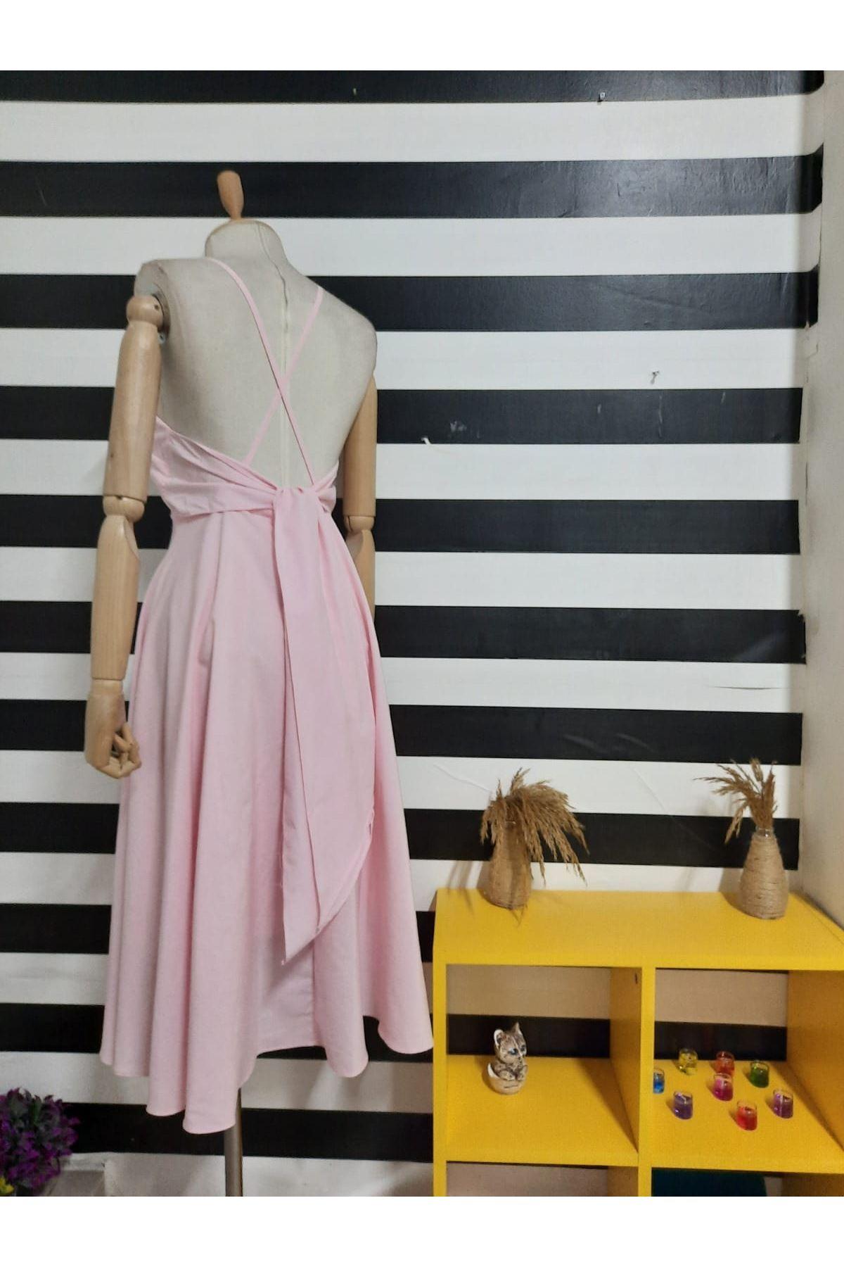 Sırt Çapraz Askılı Elbise - PUDRA