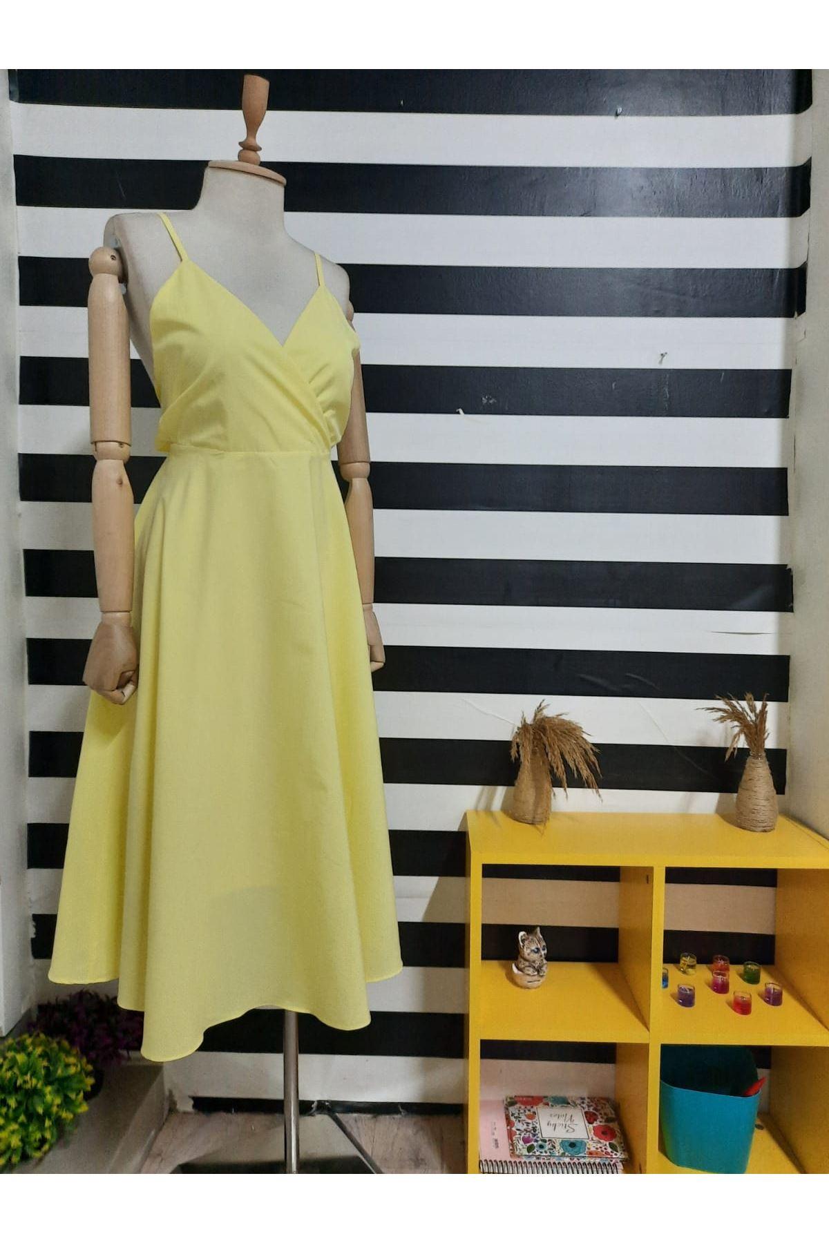 Sırt Çapraz Askılı Elbise - SARI