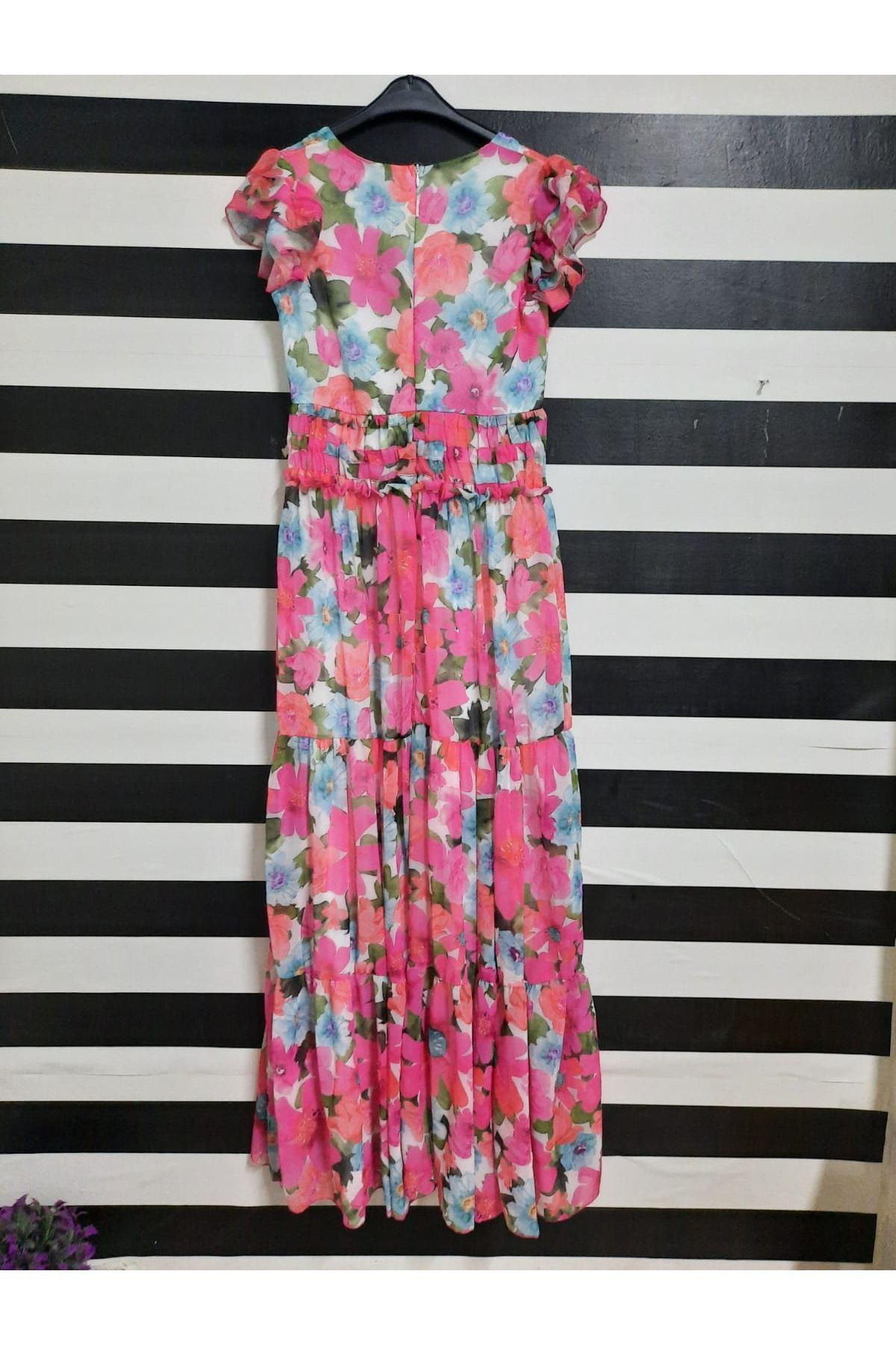 Bel Bağlama Detaylı Şifon Elbise - PUDRA