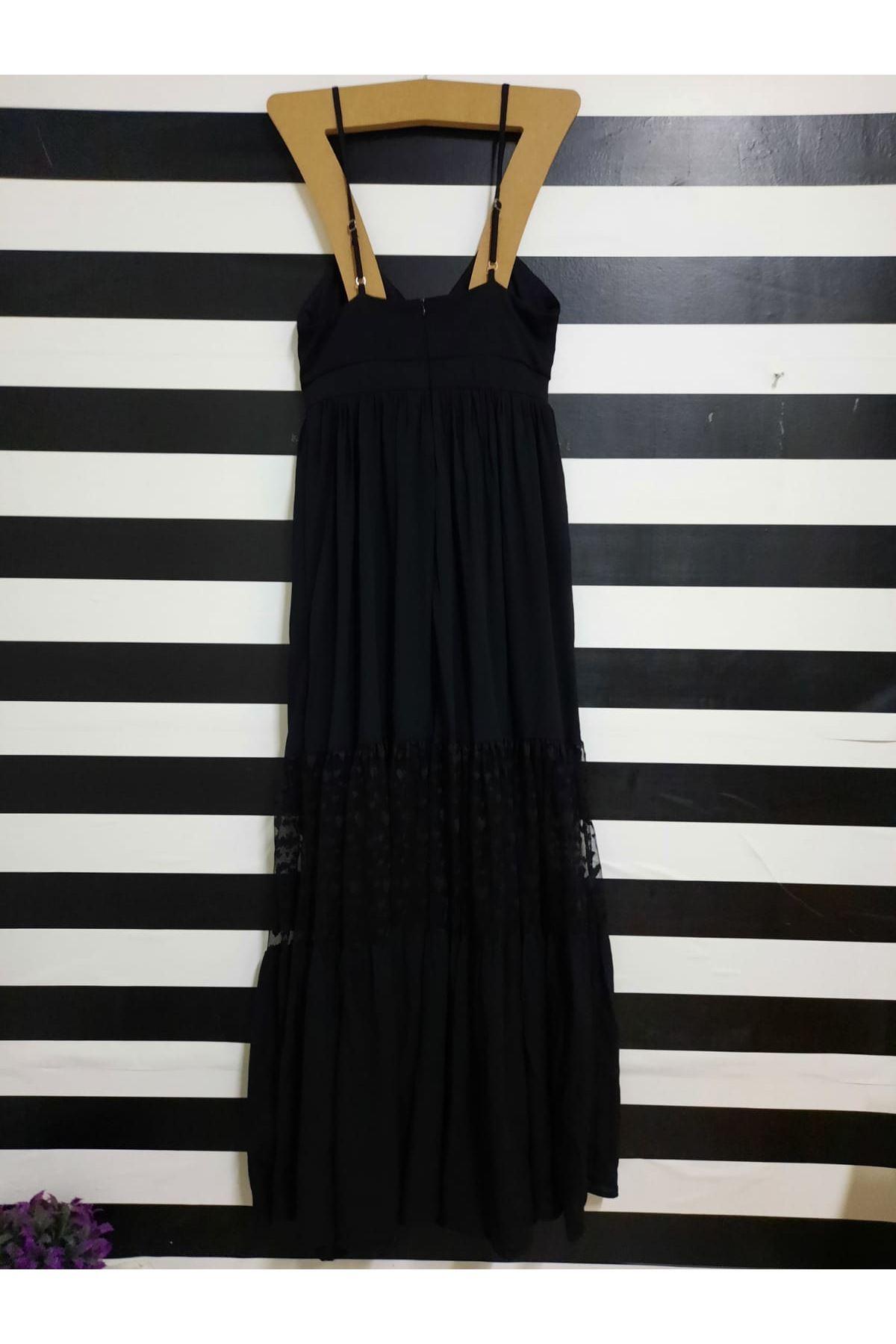Dantel Detaylı Askılı Elbise - SİYAH
