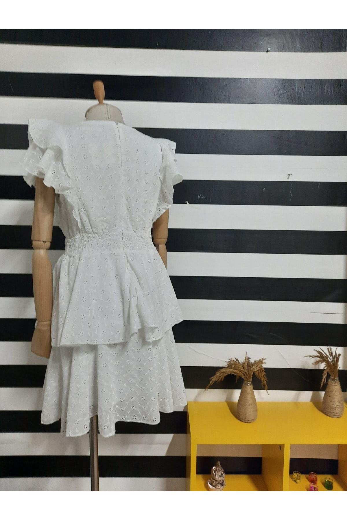 Gipe Detaylı Fisto Elbise - BEYAZ