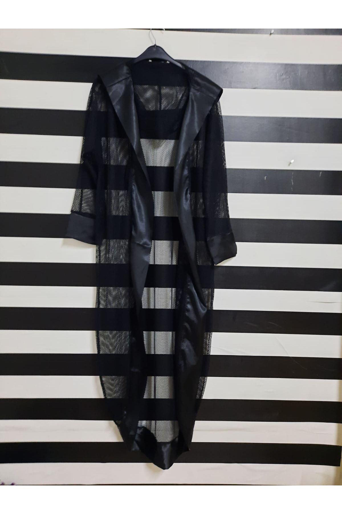 Kapüşonlu File Kimono - SİYAH