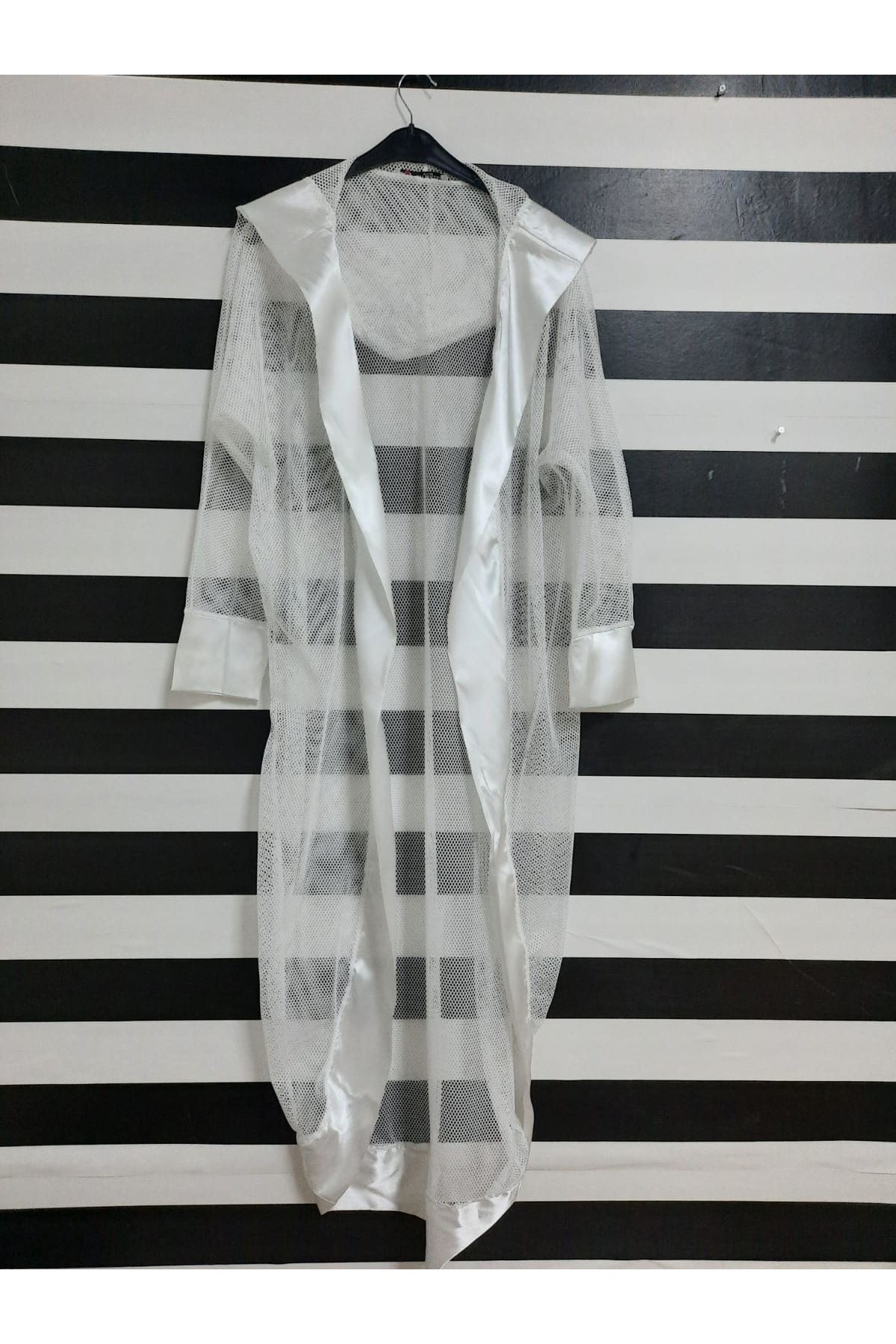 Kapüşonlu File Kimono - BEYAZ
