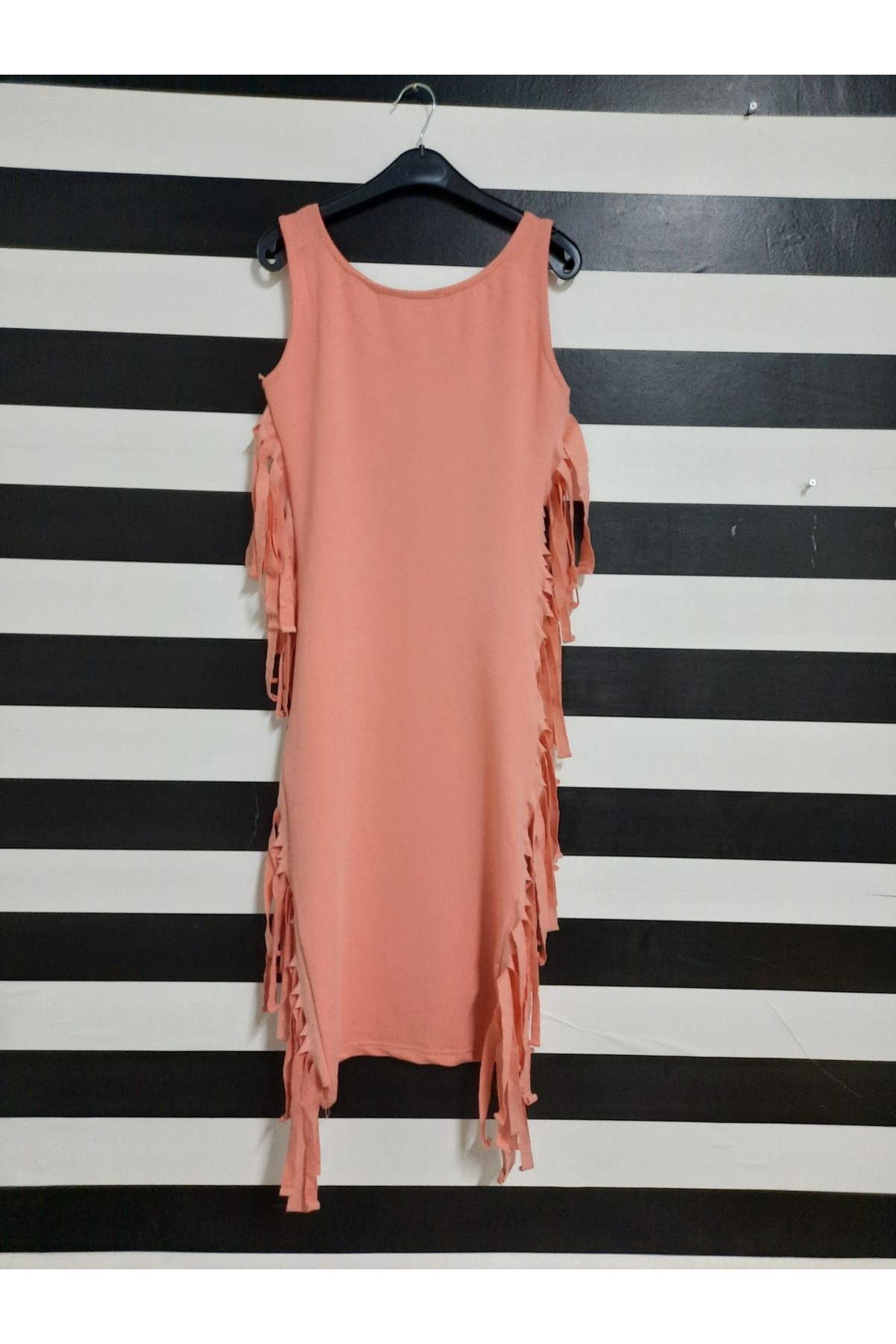 Püskül Detaylı İki İplik Elbise - MERCAN