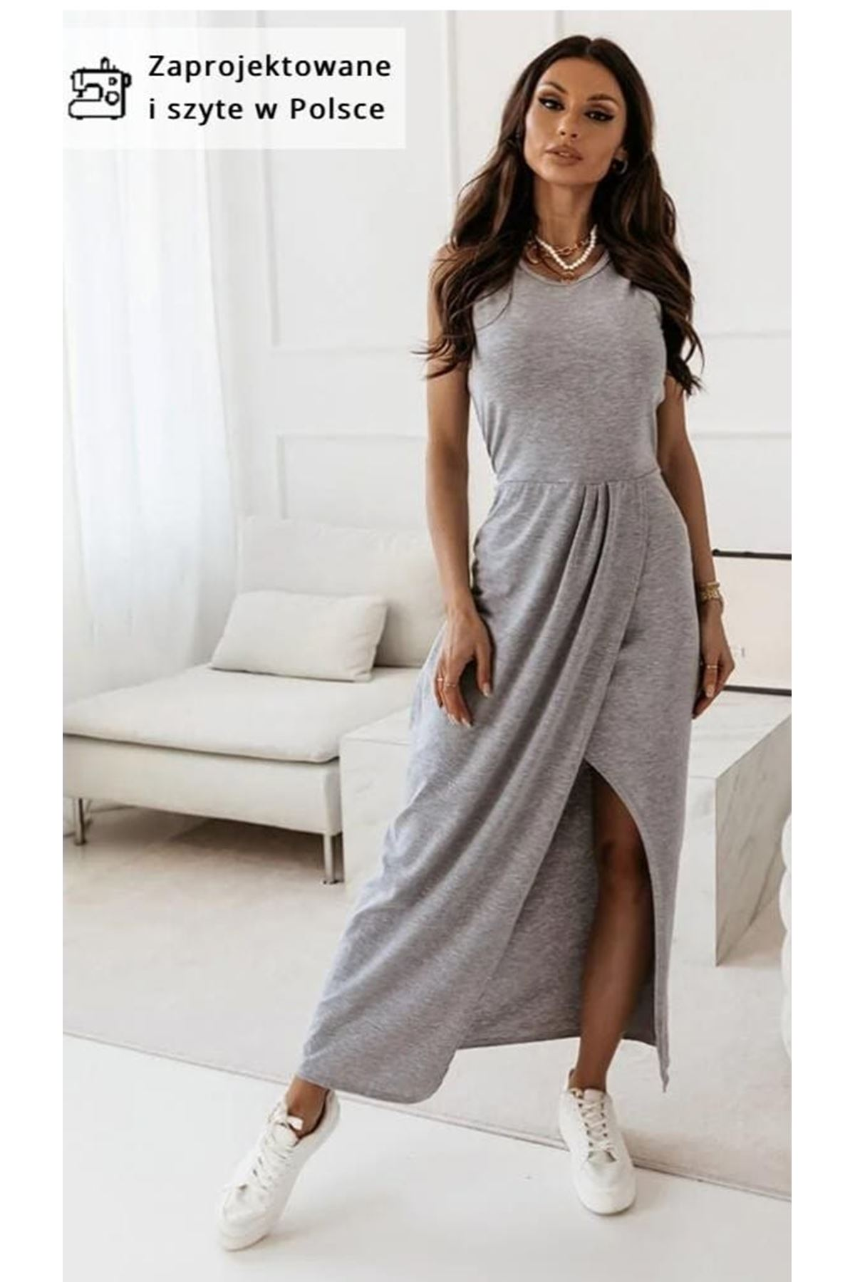 Yırtmaç Detaylı Maxi Elbise - GRİ