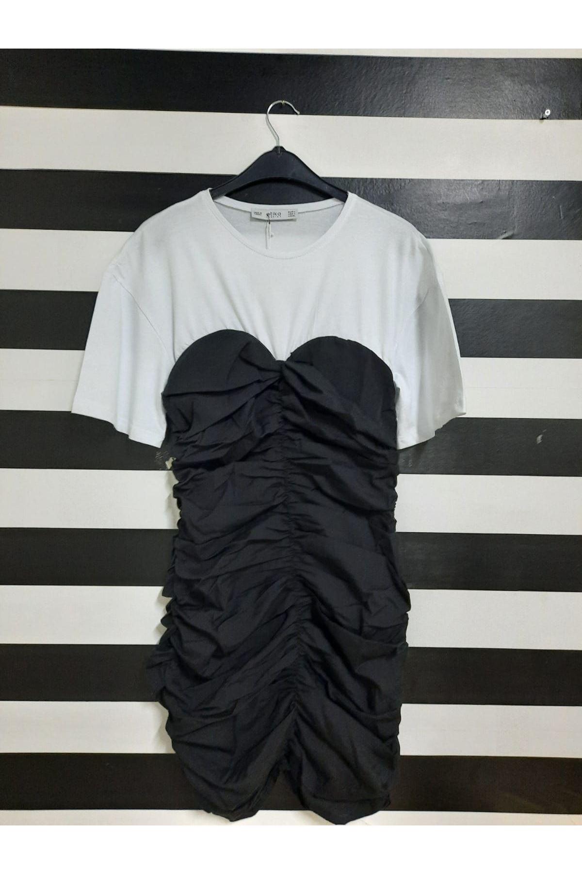 Kısa Kol Drapeli Elbise - SİYAH
