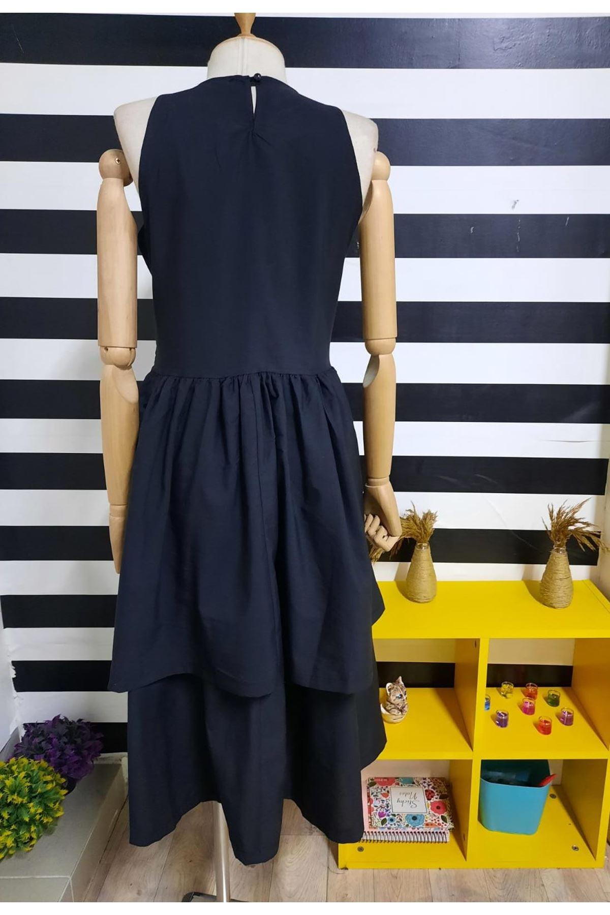 Sıfır Kol Trikoton Midiboy Elbise - SİYAH